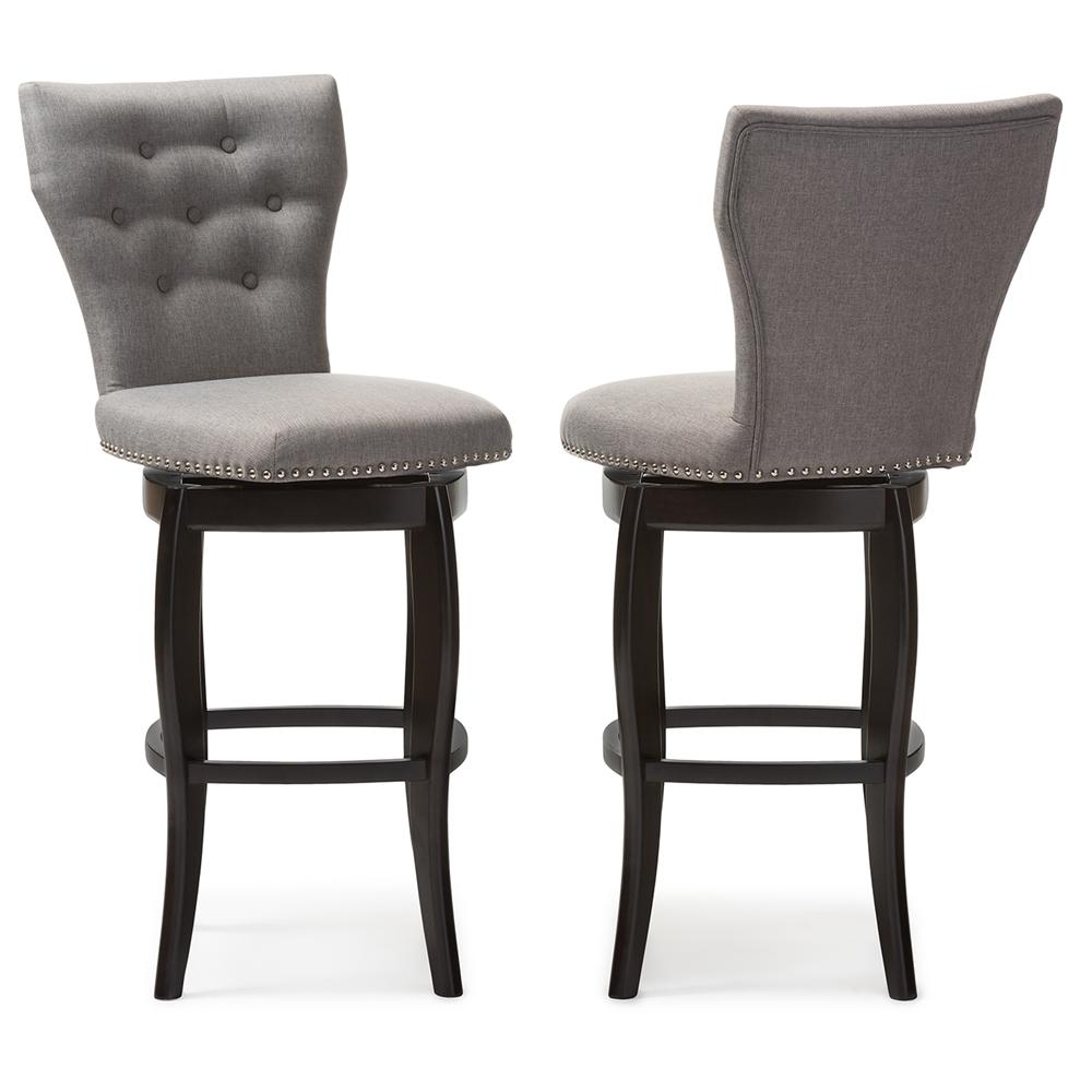 Fabulous Baxton Studio Leonice Modern And Contemporary Grey Fabric Upholstered Button Tufted 29 Inch Swivel Bar Stool Uwap Interior Chair Design Uwaporg