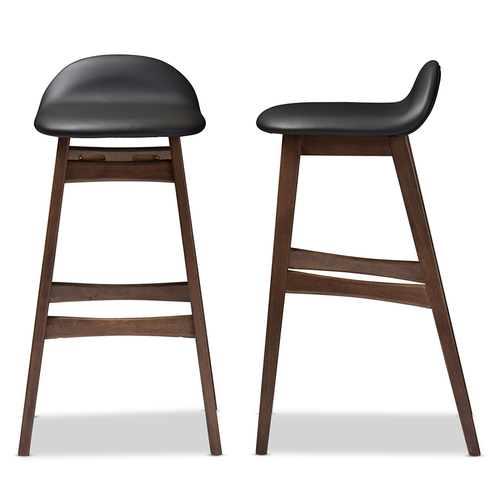 Miraculous Baxton Studio Bloom Mid Century Retro Modern Scandinavian Style Black Faux Leather Upholstered Walnut Wood Finishing 30 Inches Bar Stool Pabps2019 Chair Design Images Pabps2019Com