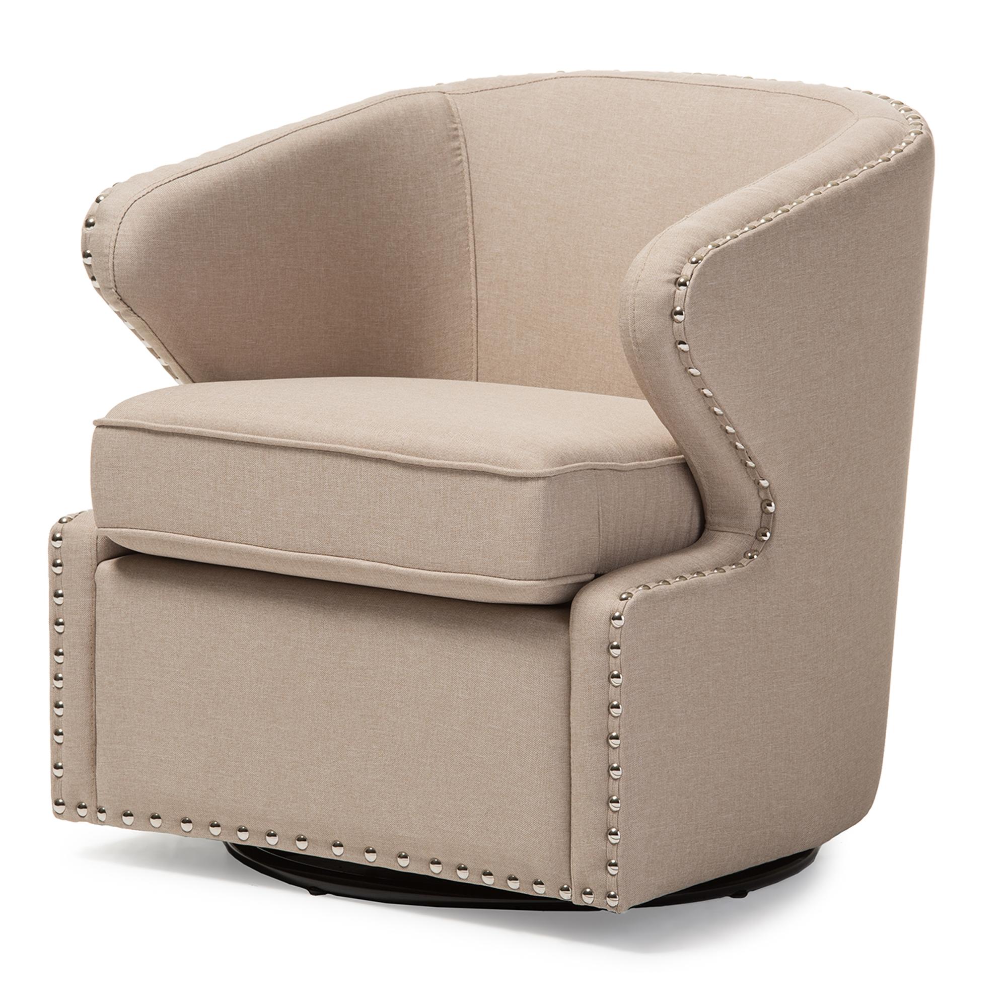 ... Baxton Studio Finley Mid Century Modern Beige Fabric Upholstered Swivel  Armchair   IEDB 203 ...