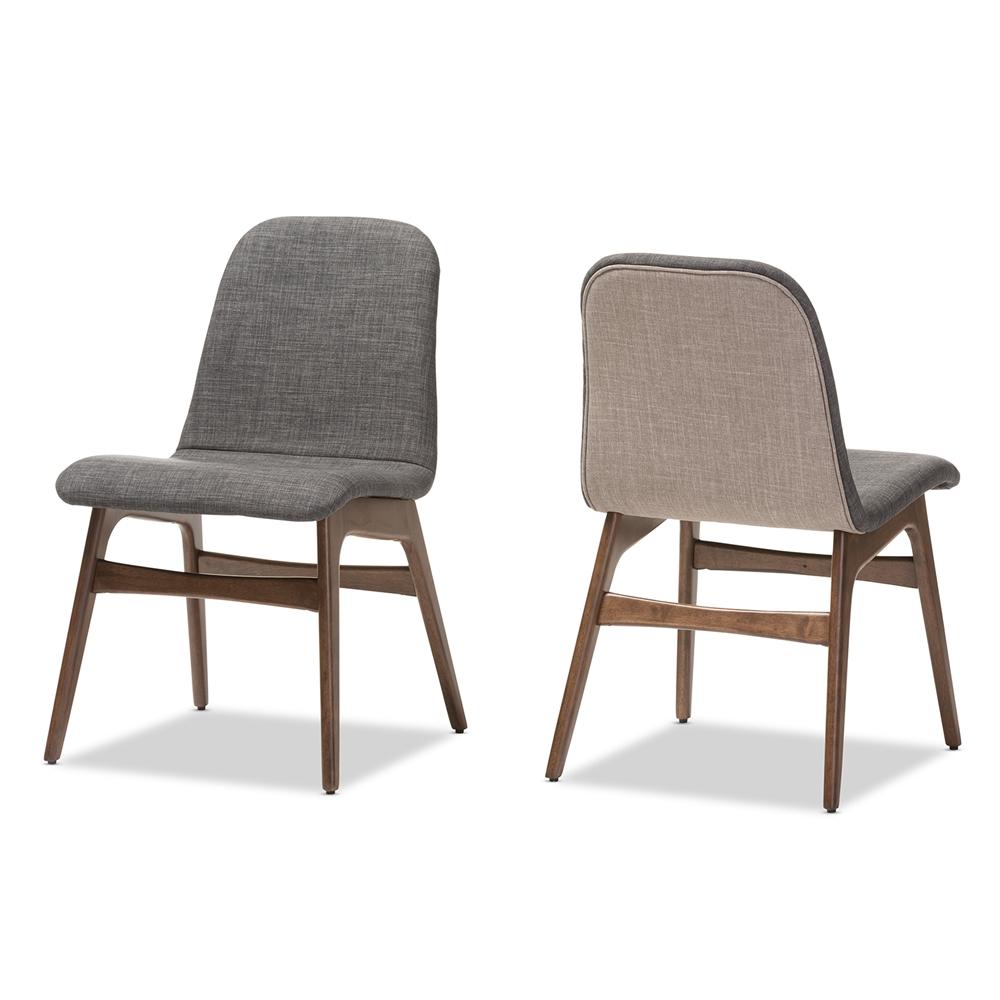 Baxton Studio Embrace Mid Century Retro Modern Scandinavian Style Dark Grey Fabric Upholstered Walnut Wood