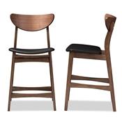 Baxton Studio Latina Mid-century Retro Modern Scandinavian Style Black Faux  Leather Upholstered Walnut Wood