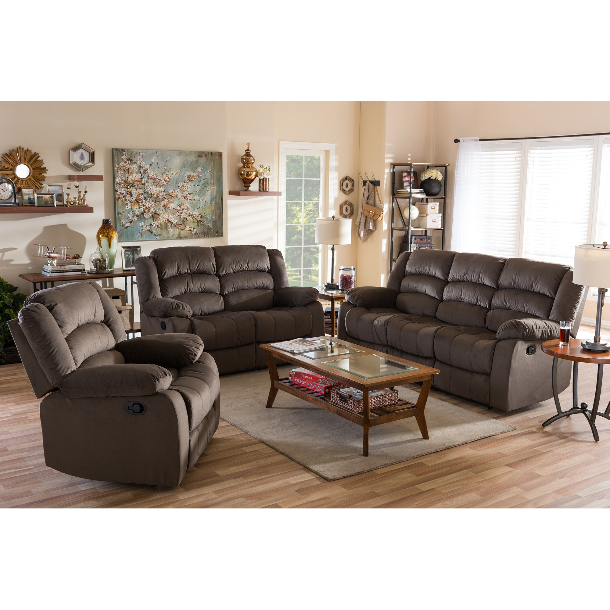 ... Baxton Studio Hollace Modern And Contemporary Taupe Microsuede Sofa  Loveseat And Chair Set With 5 Recliners ...