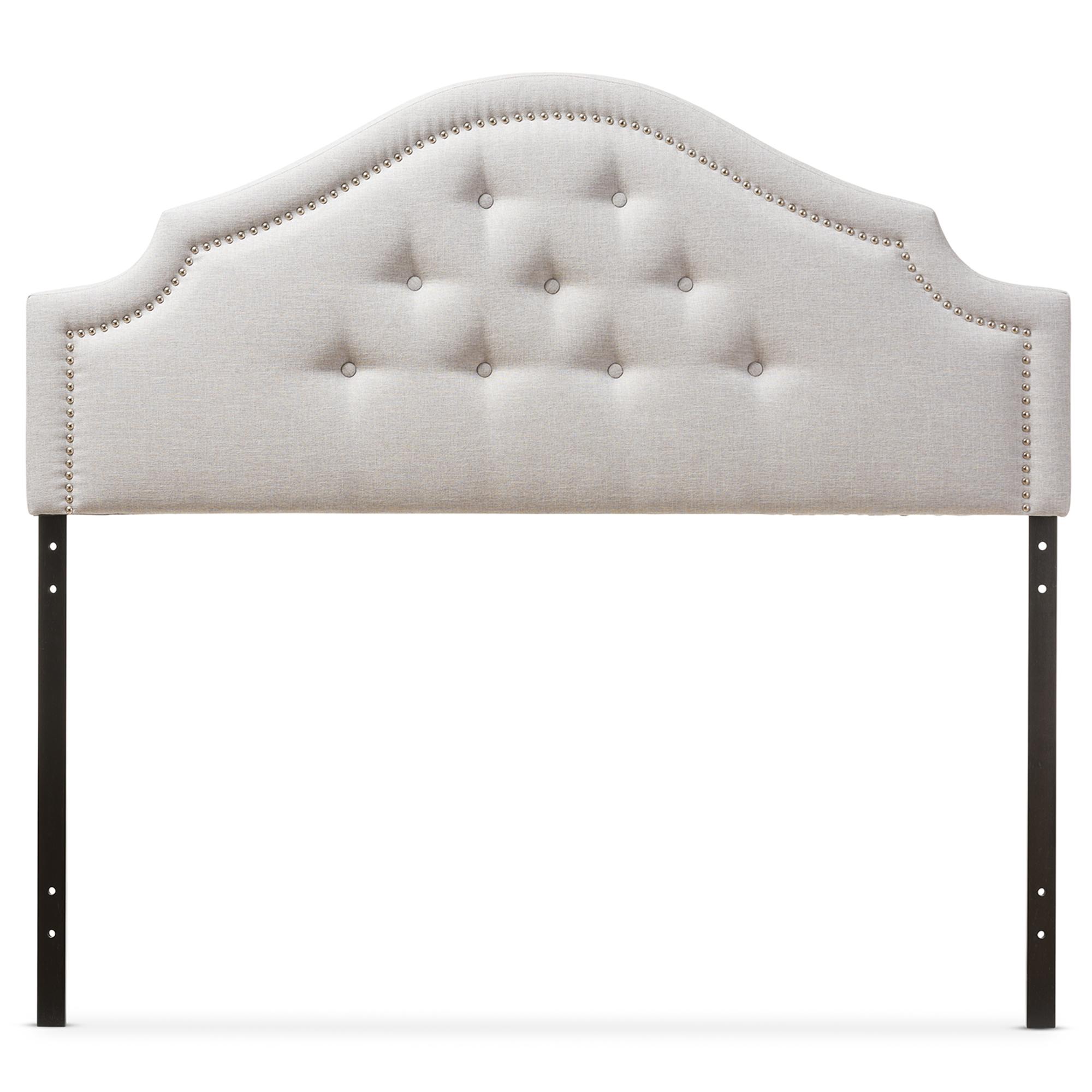 baxton studio cora modern and greyish beige fabric upholstered queen size headboard iebbt6564