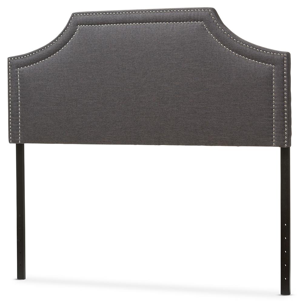 Baxton studio avignon modern and contemporary dark grey fabric upholstered king size headboard iebbt6566