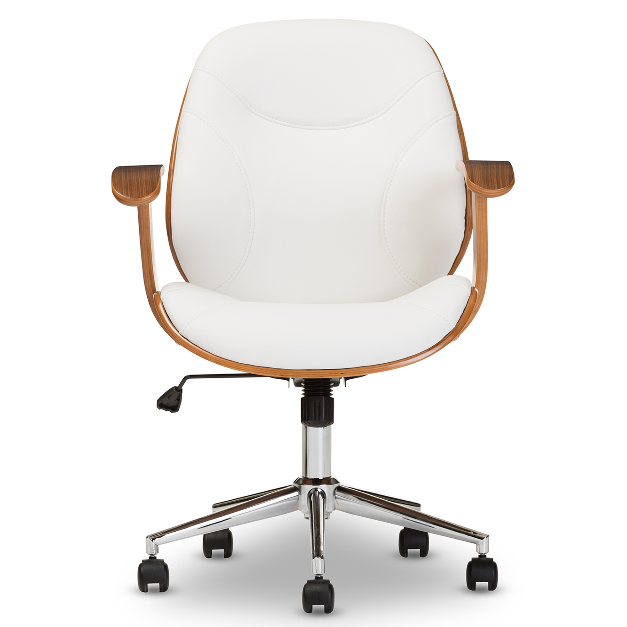 modern desk chair. Baxton Studio Rathburn Modern And Contemporary White Walnut Office Chair  - IESD-2235- Modern Desk Chair O