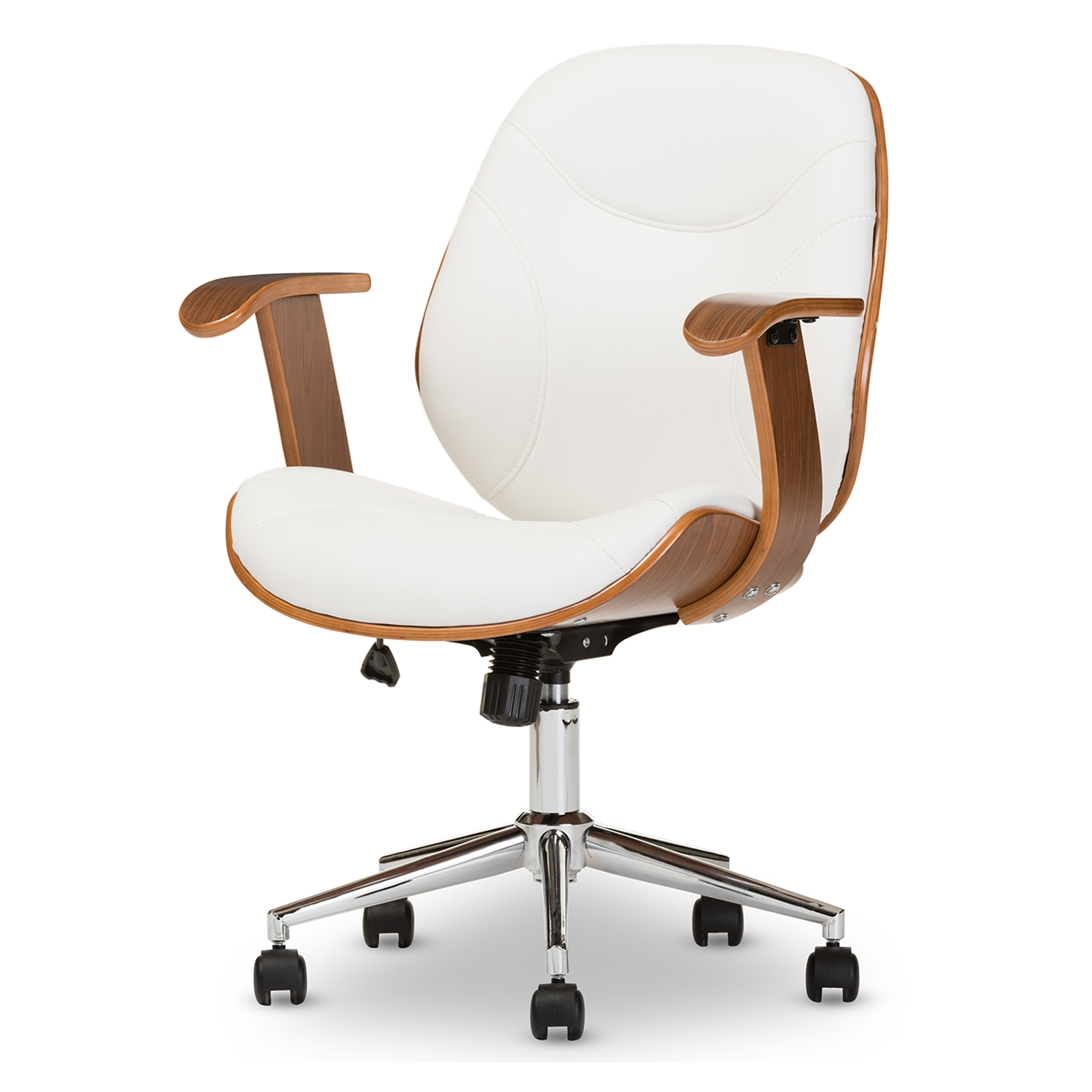 ... Baxton Studio Rathburn Modern And Contemporary White And Walnut Office  Chair   IESD 2235  ...