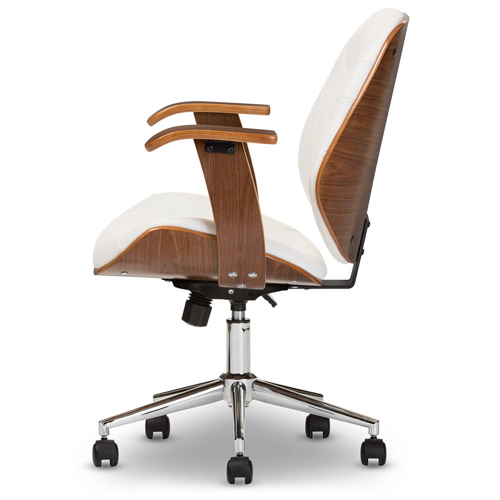 Baxton Studio Rathburn Modern And Contemporary White Walnut Office Chair Iesd 2235