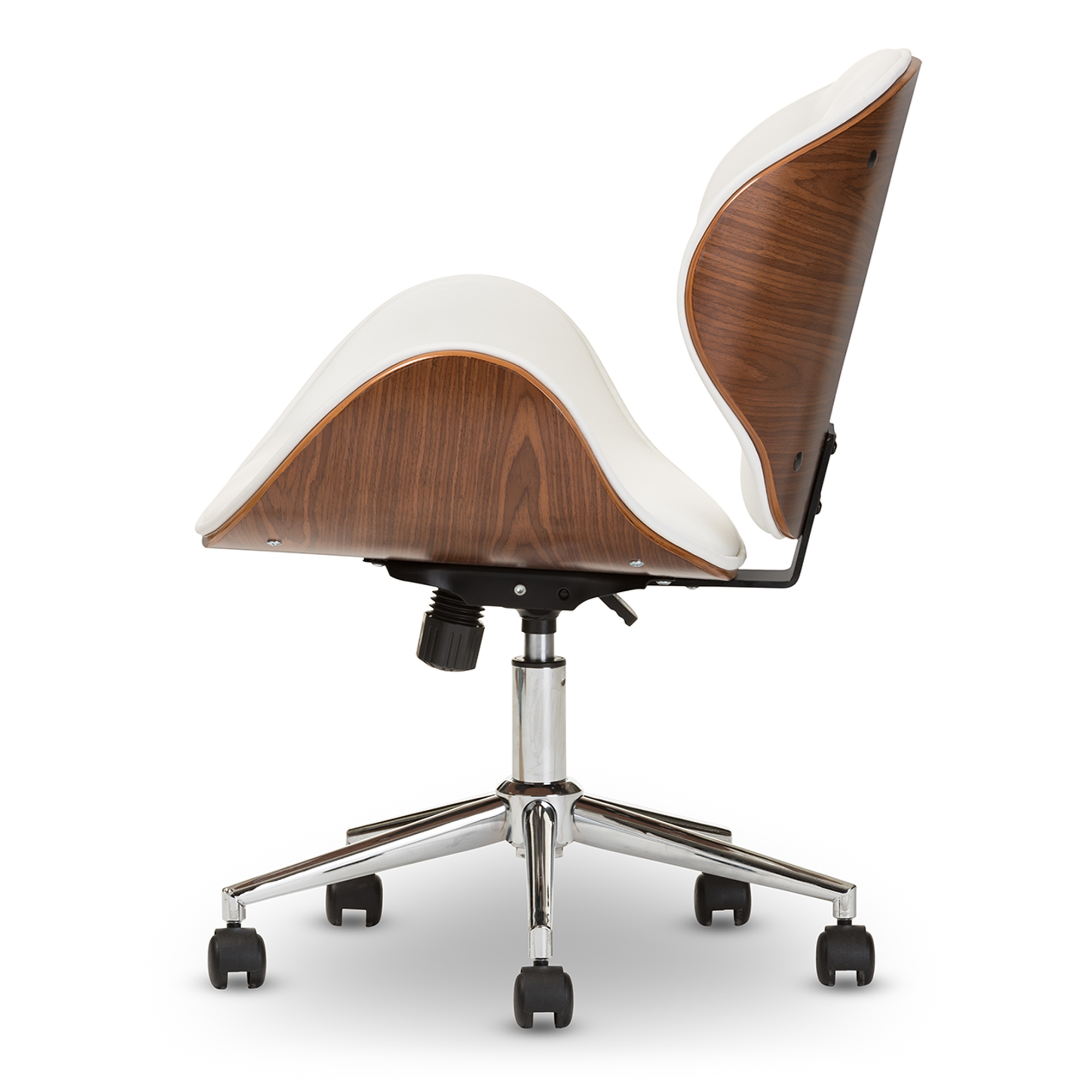 White walnut office furniture Modern Baxton Studio Bruce Modern And Contemporary White And Walnut Office Chair Iesdm2240 Interior Express Baxton Studio Bruce Modern And Contemporary White And Walnut Office