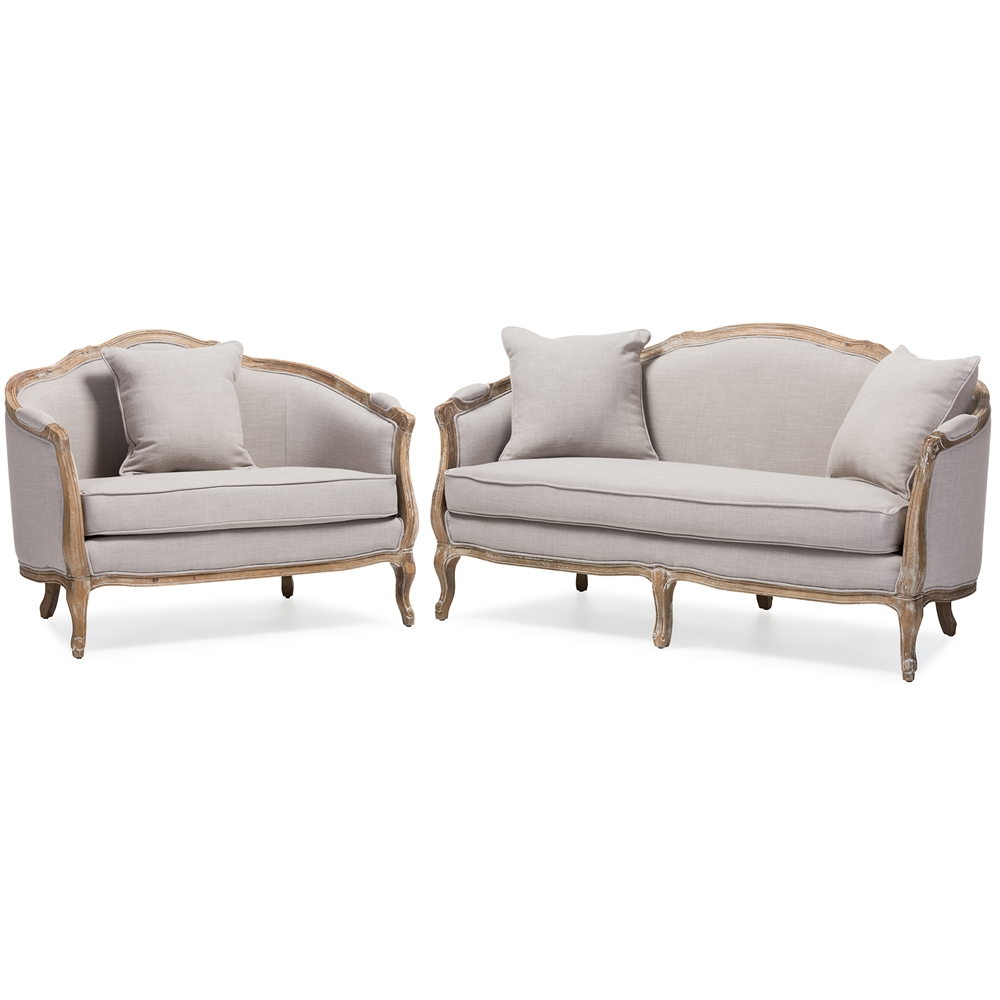 Baxton Studio Chantal French Country White Wash Weathered Oak Distressed Beige Linen Upholstered