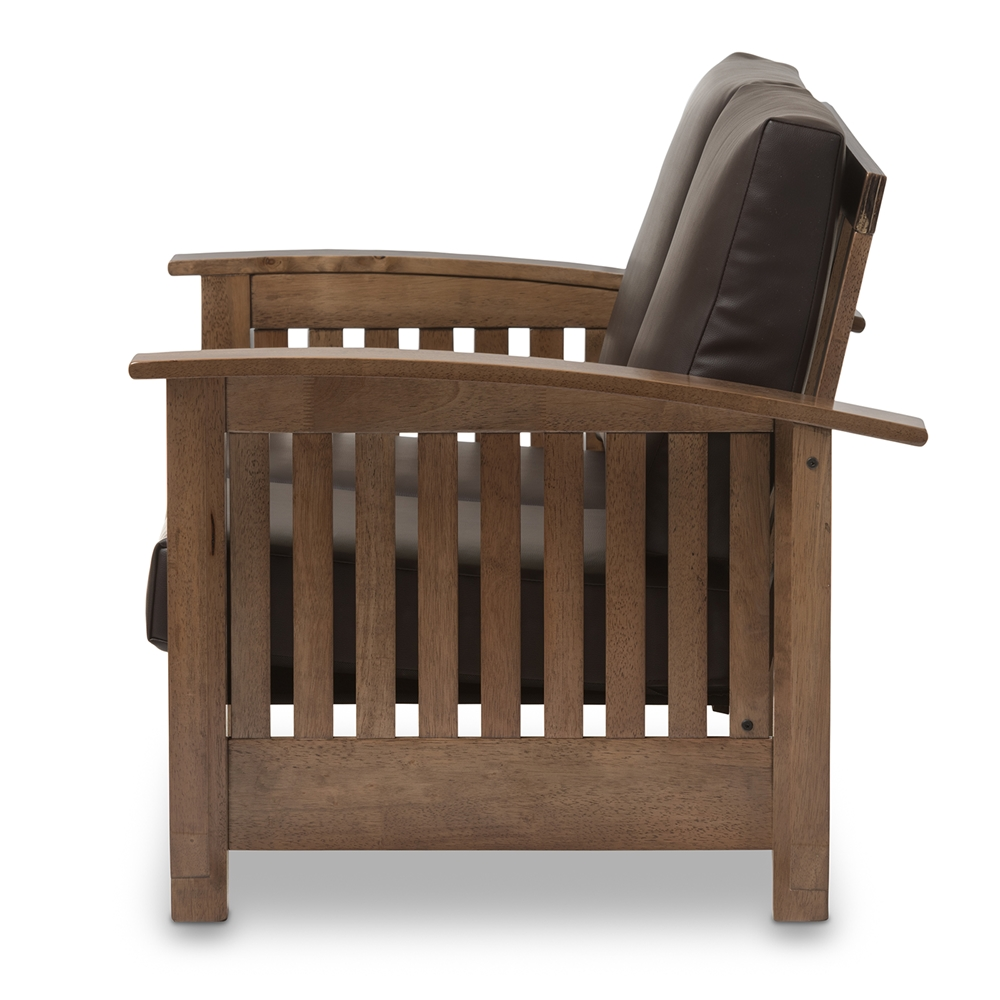Fabulous Baxton Studio Charlotte Modern Classic Mission Style Walnut Brown Wood And Dark Brown Faux Leather 2 Seater Loveseat Onthecornerstone Fun Painted Chair Ideas Images Onthecornerstoneorg