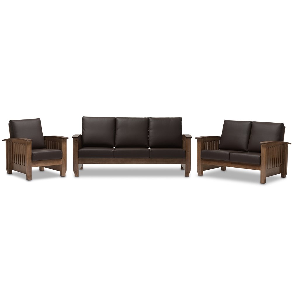 Baxton studio charlotte modern classic mission style walnut brown wood and dark brown faux leather living