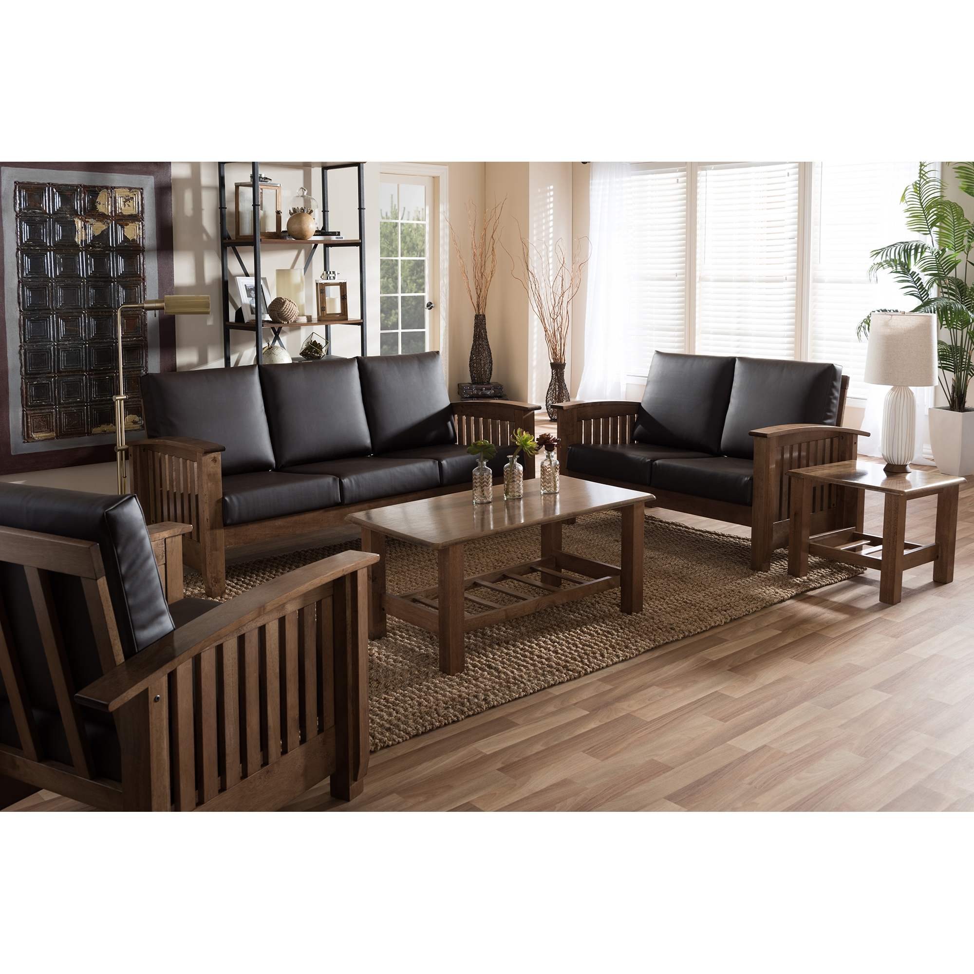 ... Baxton Studio Charlotte Modern Classic Mission Style Walnut Brown Wood  And Dark Brown Faux Leather Living Part 59
