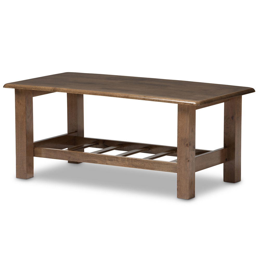 Baxton Studio Charlotte Modern Classic Mission Style Walnut Brown Wood Coffee Table Interior