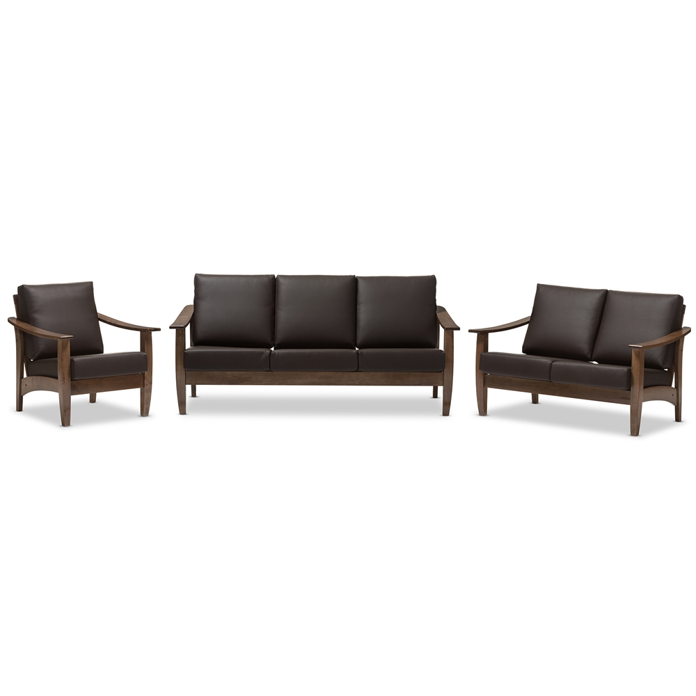 Incredible Baxton Studio Pierce Mid Century Modern Walnut Brown Wood And Dark Brown Faux Leather Living Room 5 Piece Sofa And Occasional Table Set Onthecornerstone Fun Painted Chair Ideas Images Onthecornerstoneorg