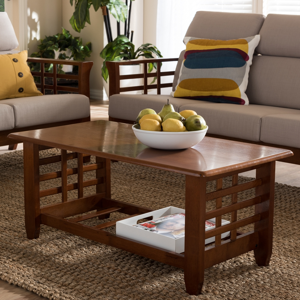 baxton studio larissa modern classic mission style cherry finished brown wood living room