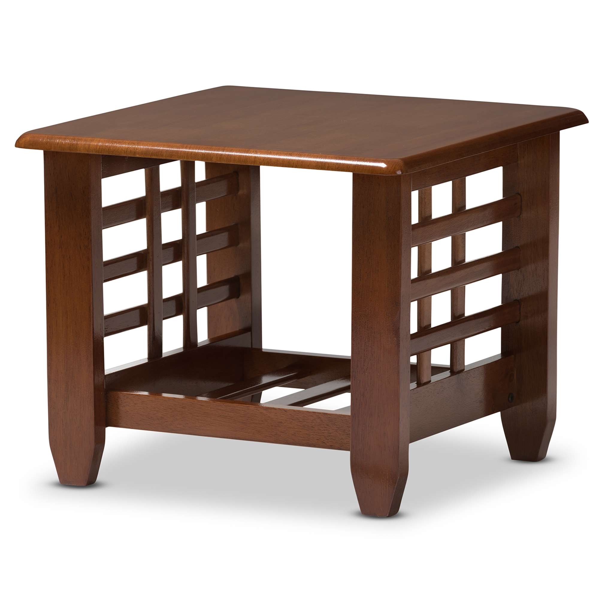 Baxton Studio Larissa Modern Classic Mission Style Cherry Finished Brown  Wood Living Room Occasional End Table