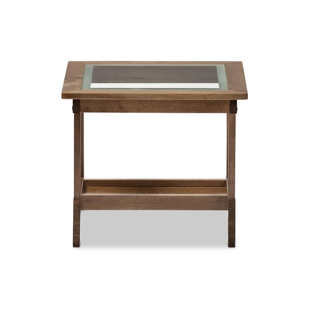Baxton Studio Cayla Mid Century Modern Walnut Brown Wood Living Room Glass