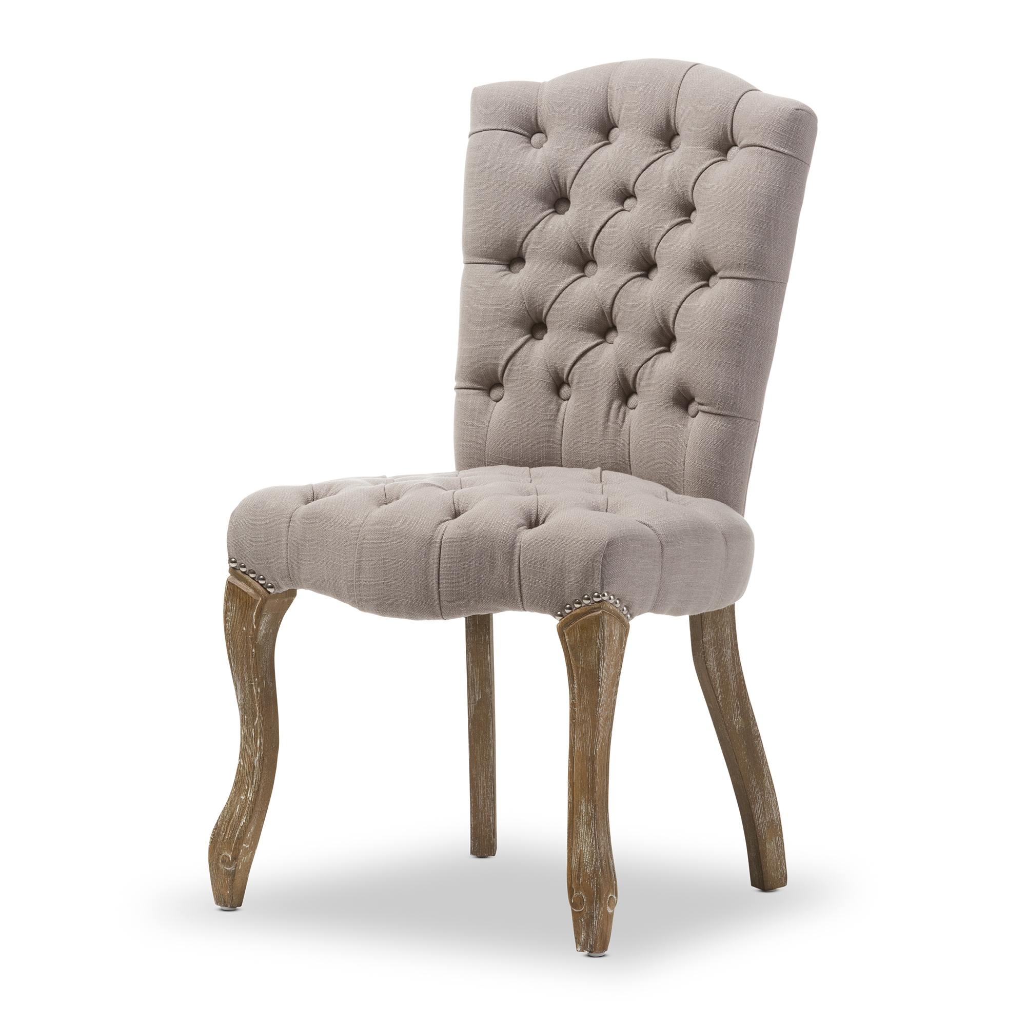 Ordinaire Baxton Studio Clemence French Provincial Inspired Weathered Oak Beige Linen  Upholstered Dining Side Chair
