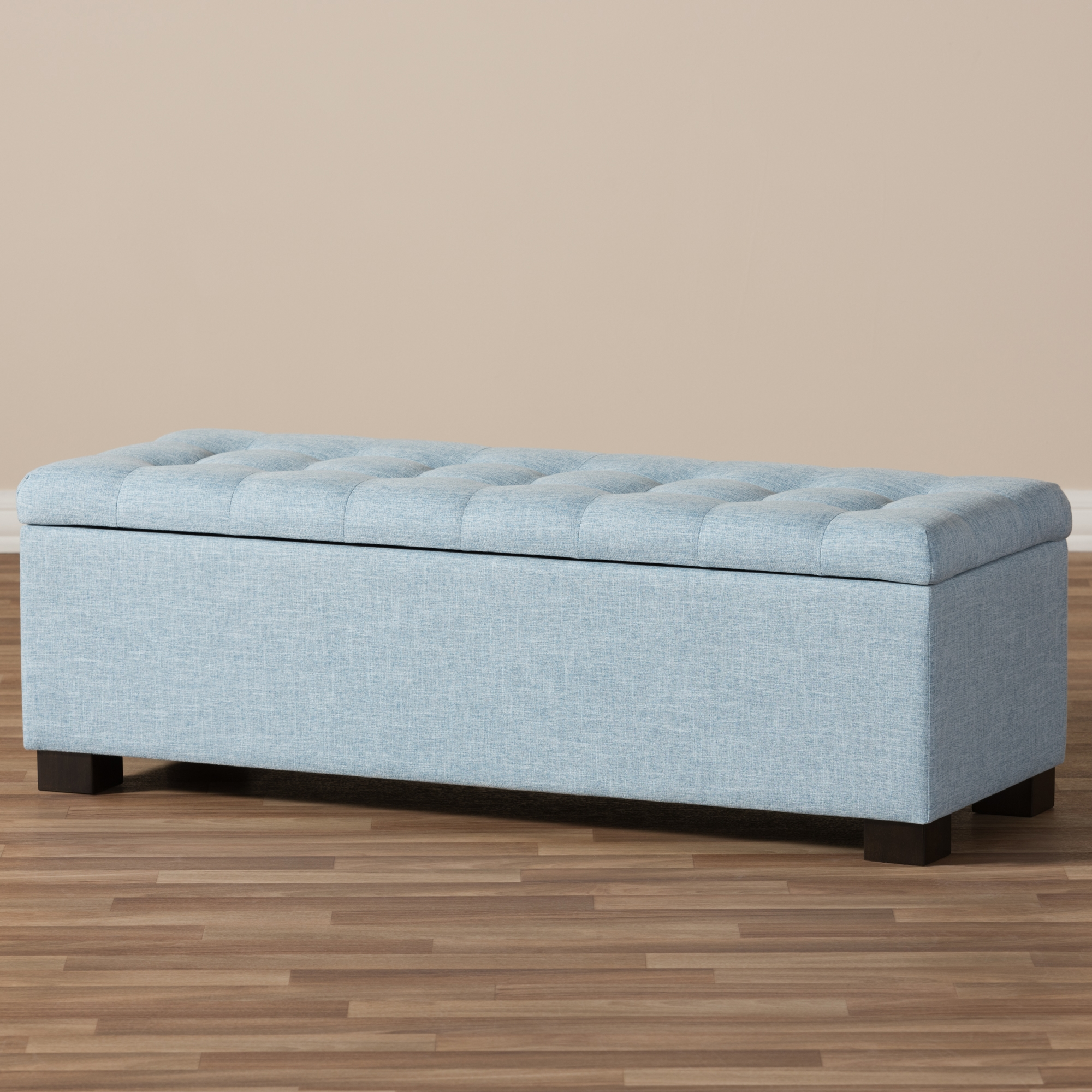 light blue ottoman. Baxton Studio Roanoke Modern And Contemporary Light Blue Fabric Upholstered Grid-Tufting Storage Ottoman Bench T