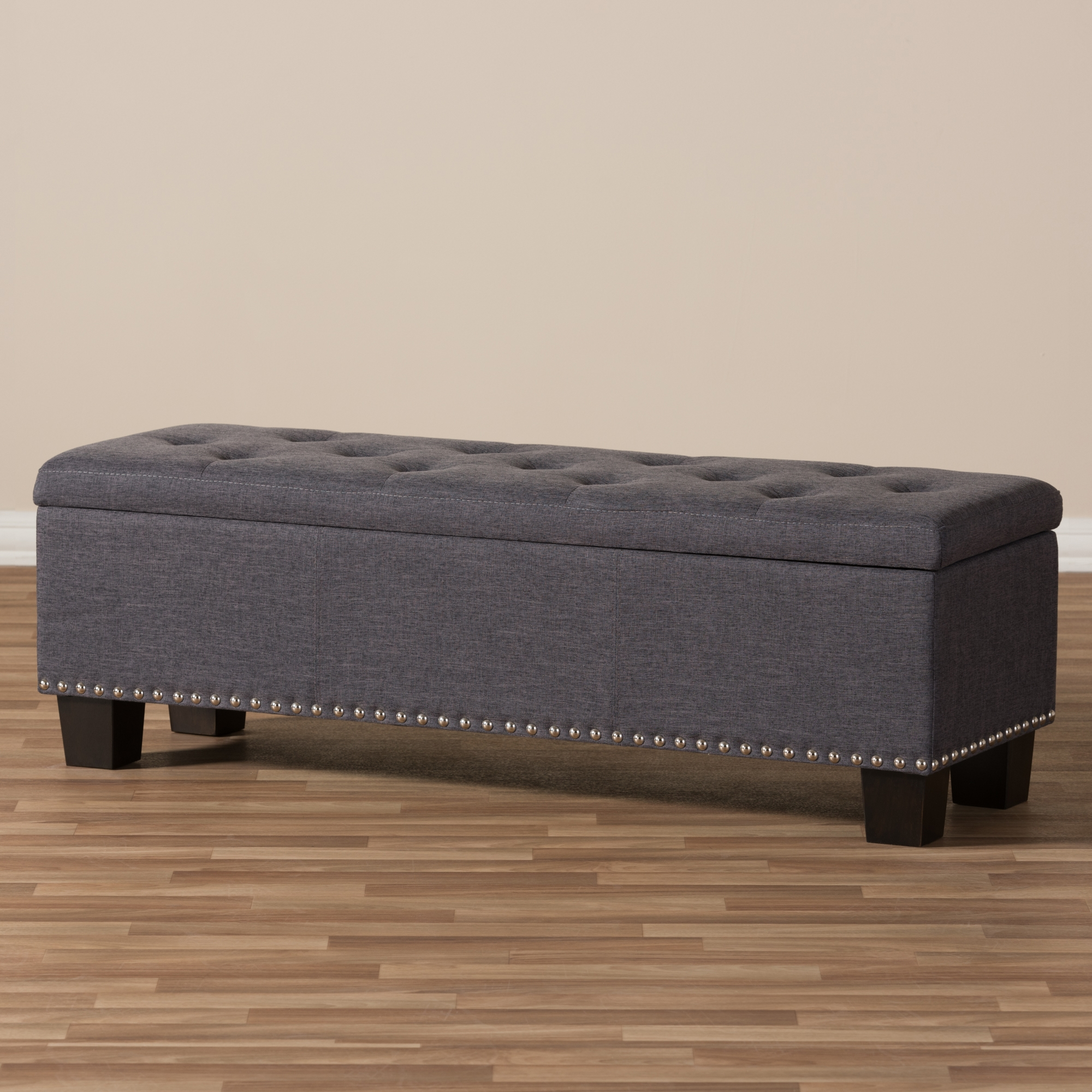 Ordinaire ... Baxton Studio Hannah Modern And Contemporary Dark Grey Fabric  Upholstered Button Tufting Storage Ottoman Bench