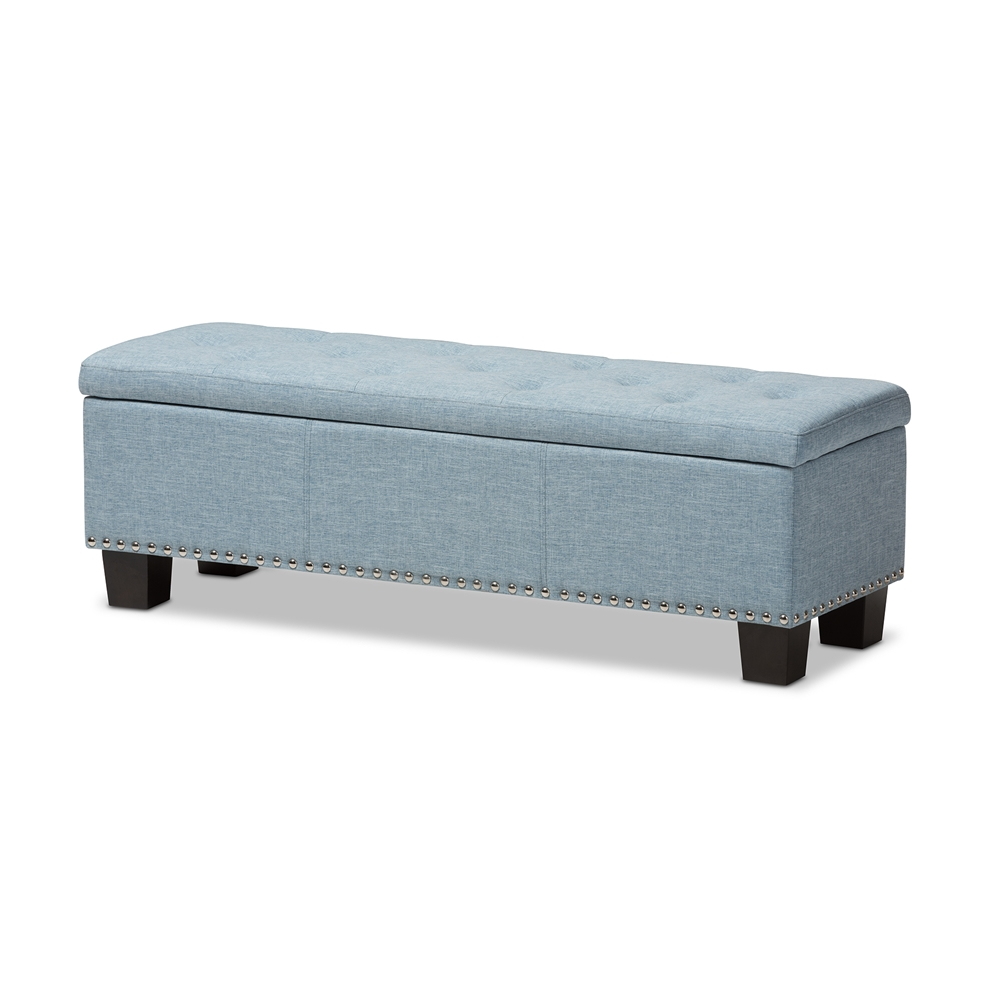 Astounding Baxton Studio Hannah Modern And Contemporary Light Blue Fabric Upholstered Button Tufting Storage Ottoman Bench Creativecarmelina Interior Chair Design Creativecarmelinacom