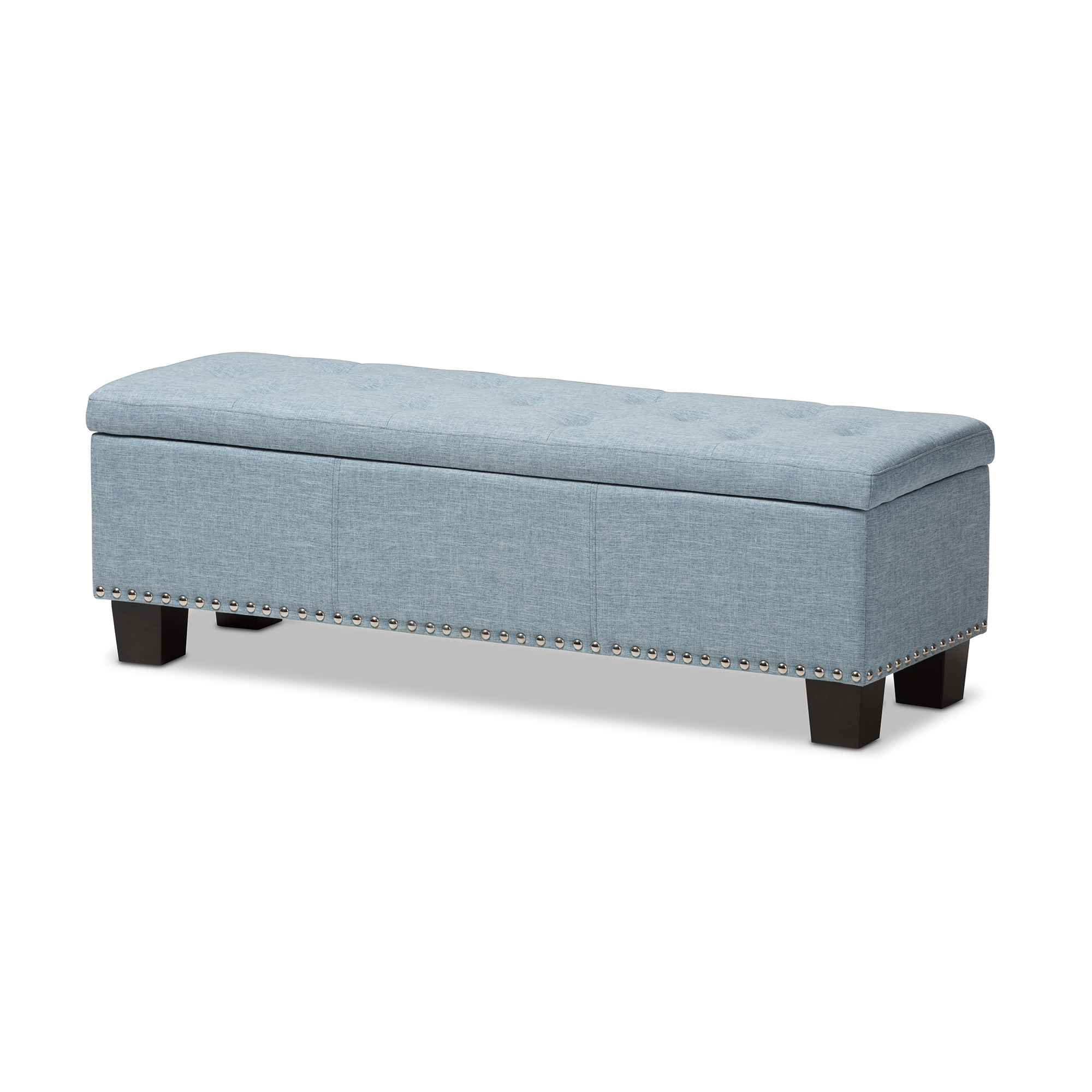 Baxton Studio Hannah Modern And Contemporary Light Blue Fabric Upholstered  Button Tufting Storage Ottoman Bench ...