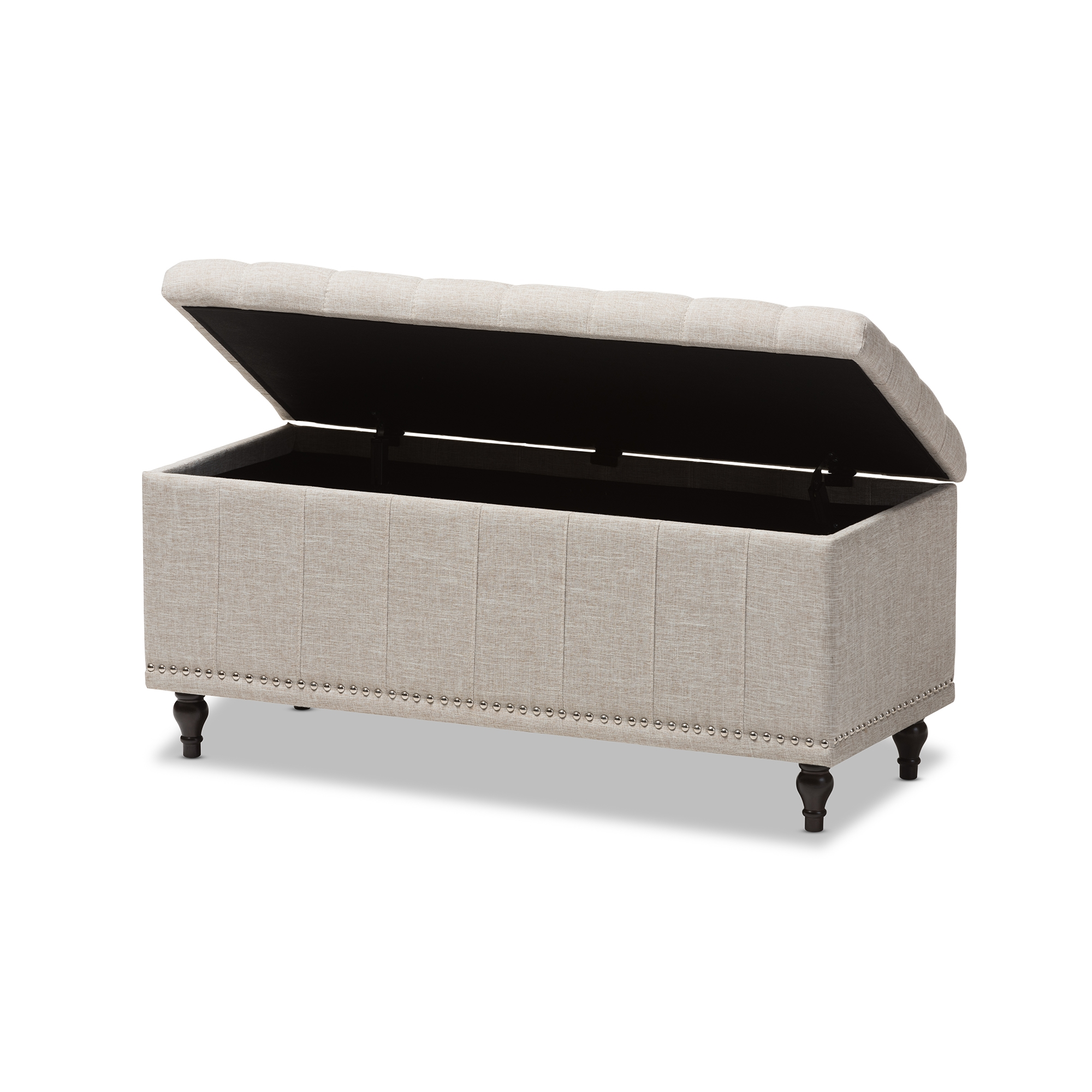 ... Baxton Studio Kaylee Modern Classic Beige Fabric Upholstered  Button Tufting Storage Ottoman Bench   IEBBT3137 ...