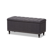 Baxton Studio Kaylee Modern Classic Dark Grey Fabric Upholstered Button-Tufting Storage Ottoman Bench Baxton Studio restaurant furniture, hotel furniture, commercial furniture, wholesale living room furniture, wholesale ottomans, classic storage ottomans