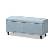 Baxton Studio Kaylee Modern Classic Light Blue Fabric Upholstered Button-Tufting Storage Ottoman Bench Baxton Studio restaurant furniture, hotel furniture, commercial furniture, wholesale living room furniture, wholesale ottomans, classic storage ottomans