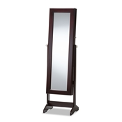 Baxton Studio Alena Brown Finishing Wood Free Standing Cheval Mirror Jewelry Armoire Baxton Studio restaurant furniture, hotel furniture, commercial furniture, wholesale living room furniture, wholesale mirrors, classic mirrors