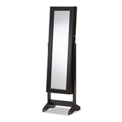 Baxton Studio Alena Black Finishing Wood Free Standing Cheval Mirror Jewelry Armoire Baxton Studio restaurant furniture, hotel furniture, commercial furniture, wholesale living room furniture, wholesale mirrors, classic mirrors