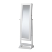Baxton Studio Alena White Finishing Wood Free Standing Cheval Mirror Jewelry Armoire Baxton Studio restaurant furniture, hotel furniture, commercial furniture, wholesale living room furniture, wholesale mirrors, classic mirrors