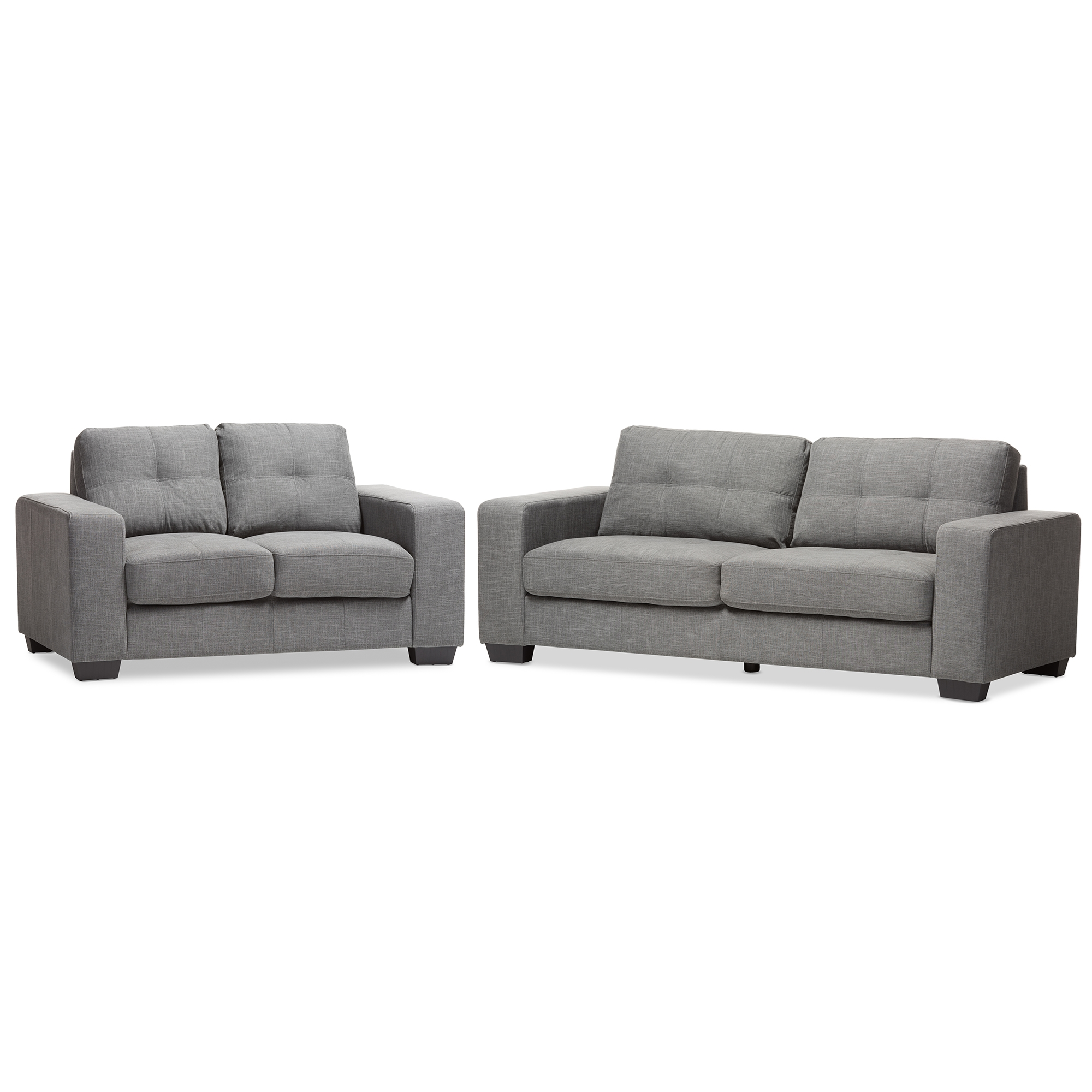 Baxton Studio Westerlund Modern And Contemporary Shadow Gray Fabric  Upholstered 2 Piece Loveseat And Sofa ...