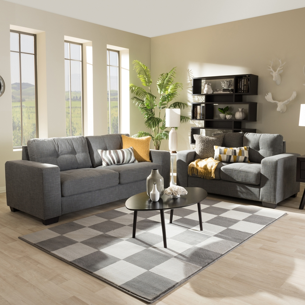 Studio Living Room Furniture Baxton Studio Westerlund Modern And Contemporary Shadow Gray