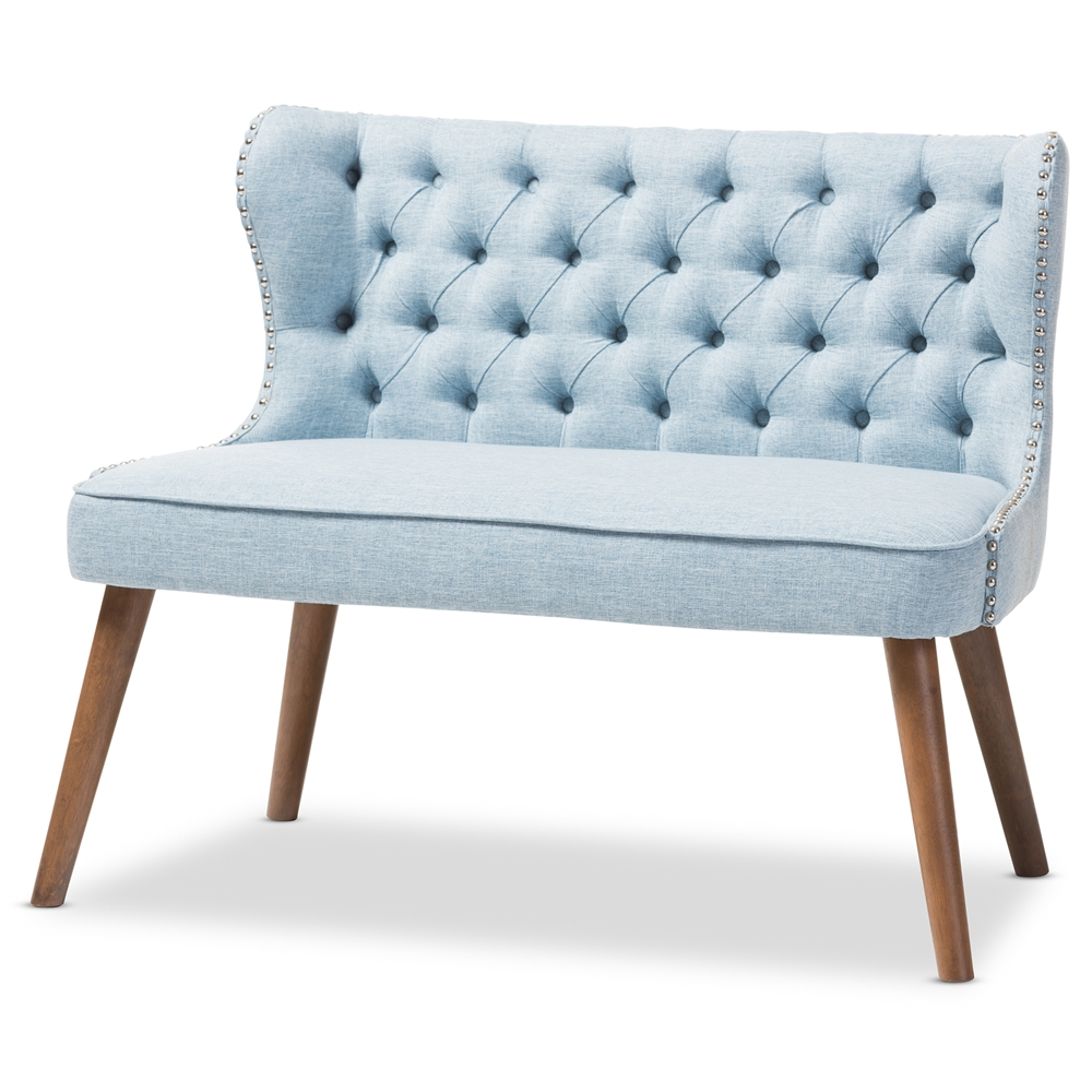 Sensational Baxton Studio Scarlett Mid Century Modern Brown Wood And Light Blue Fabric Upholstered Button Tufting With Nail Heads Trim 2 Seater Loveseat Settee Squirreltailoven Fun Painted Chair Ideas Images Squirreltailovenorg