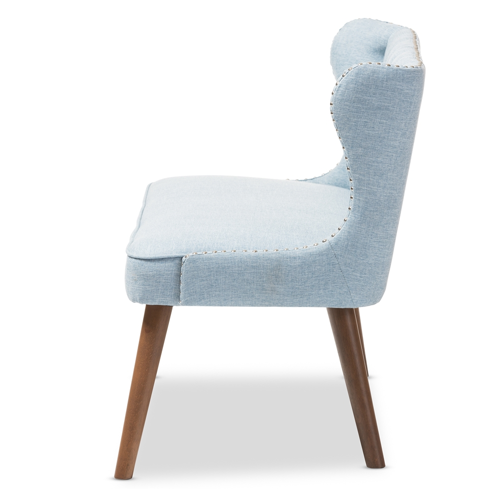 Stupendous Baxton Studio Scarlett Mid Century Modern Brown Wood And Light Blue Fabric Upholstered Button Tufting With Nail Heads Trim 2 Seater Loveseat Settee Pabps2019 Chair Design Images Pabps2019Com