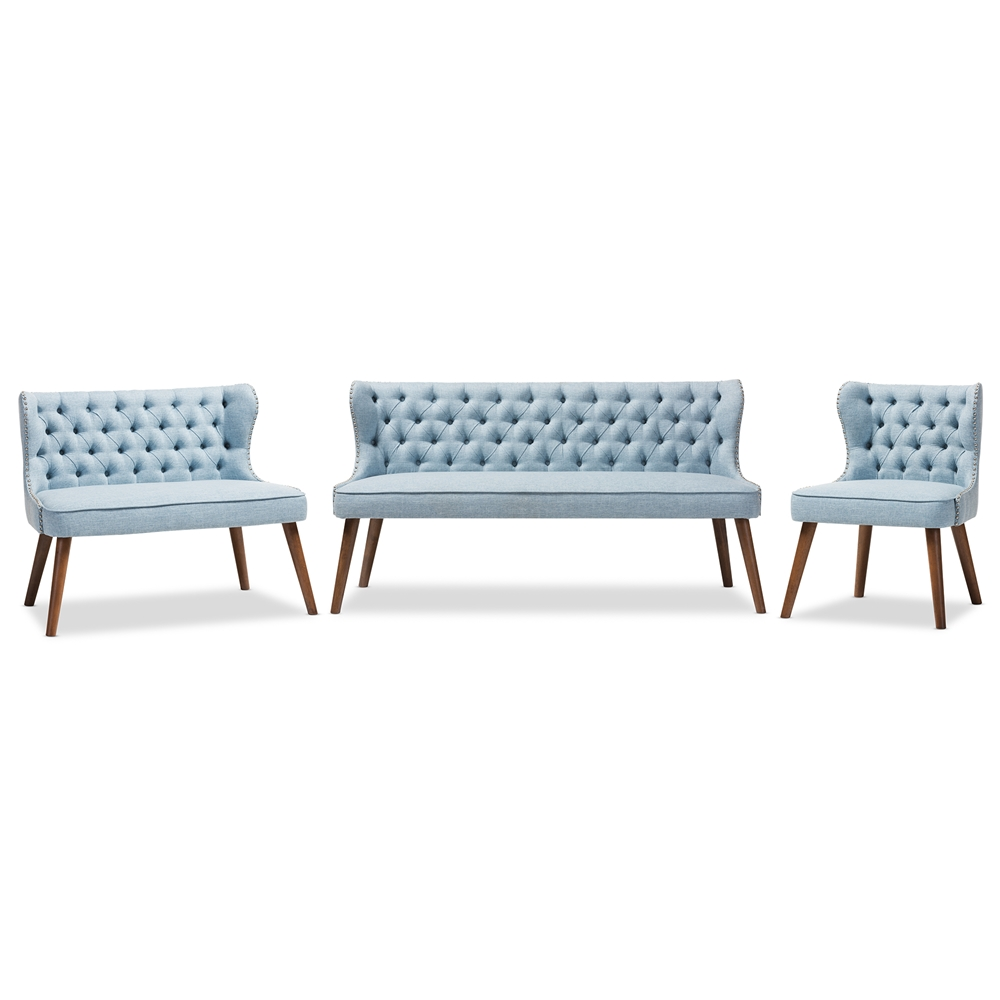 Baxton Studio Scarlett Mid-Century Modern Walnut Brown Wood and Light Blue  Fabric Upholstered Button-Tufting with Nail Heads Trim Livingroom 3-Piece  ...