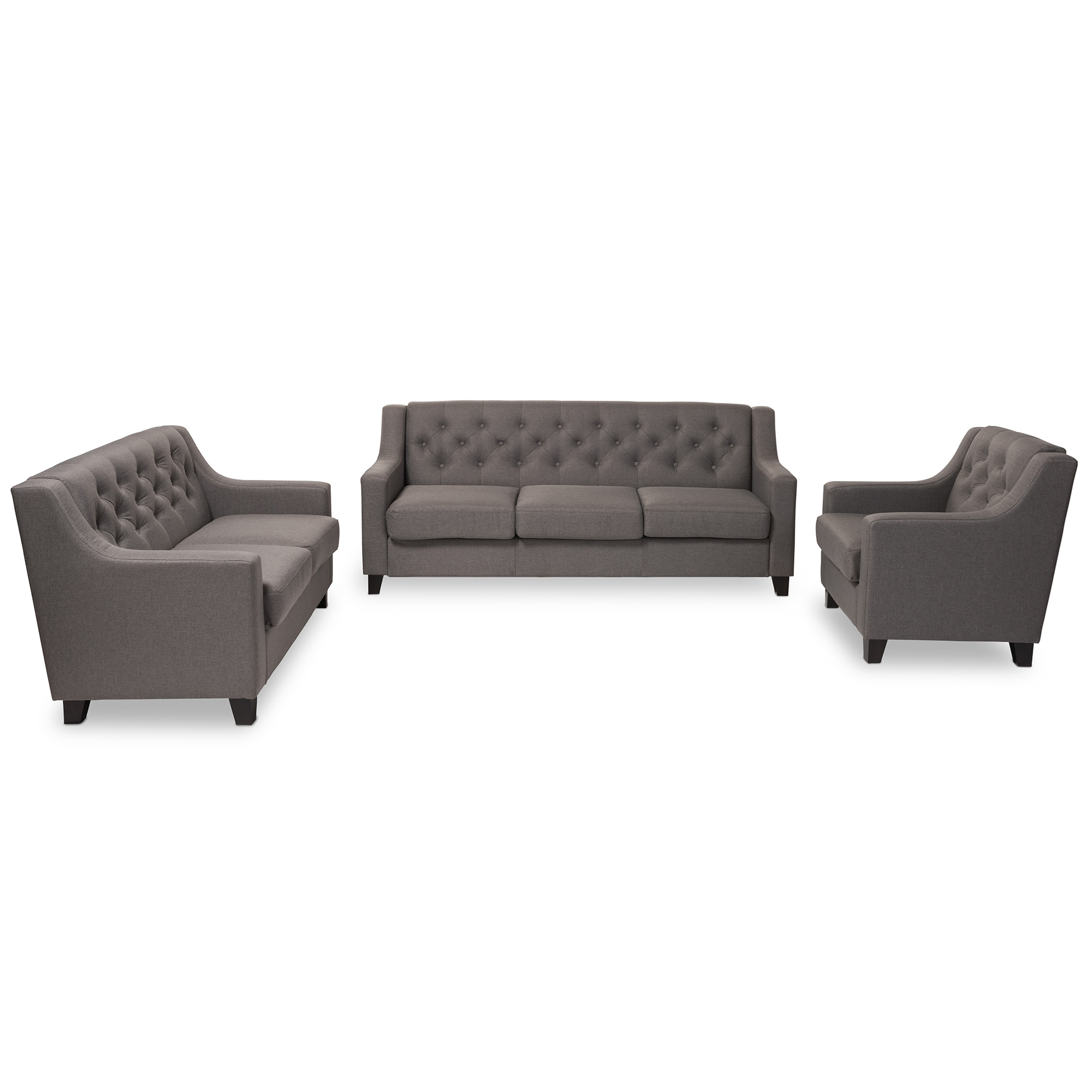 Baxton Studio Arcadia Modern And Contemporary Grey Fabric Upholstered  Button Tufted 3 Piece Living ...