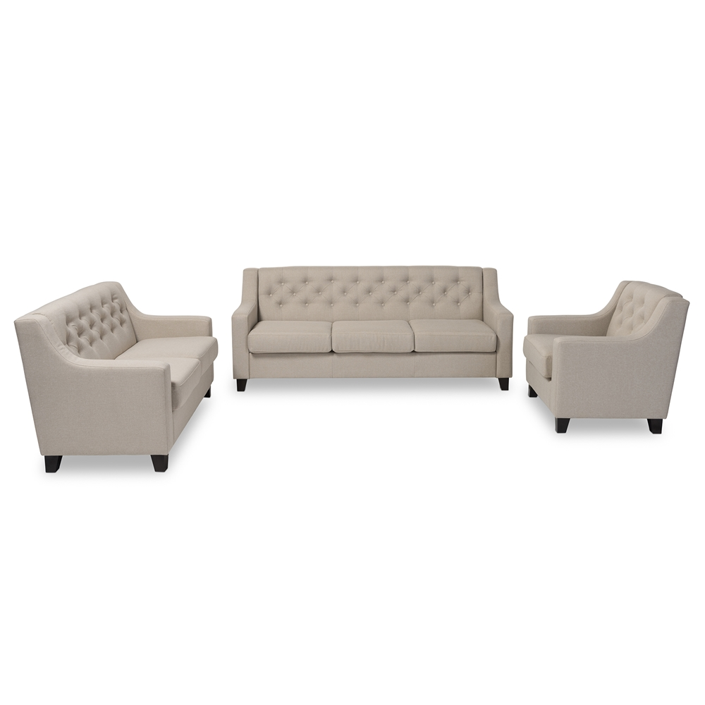 Surprising Baxton Studio Arcadia Modern And Contemporary Light Beige Fabric Upholstered Button Tufted 3 Piece Living Room Sofa Set Download Free Architecture Designs Ogrambritishbridgeorg