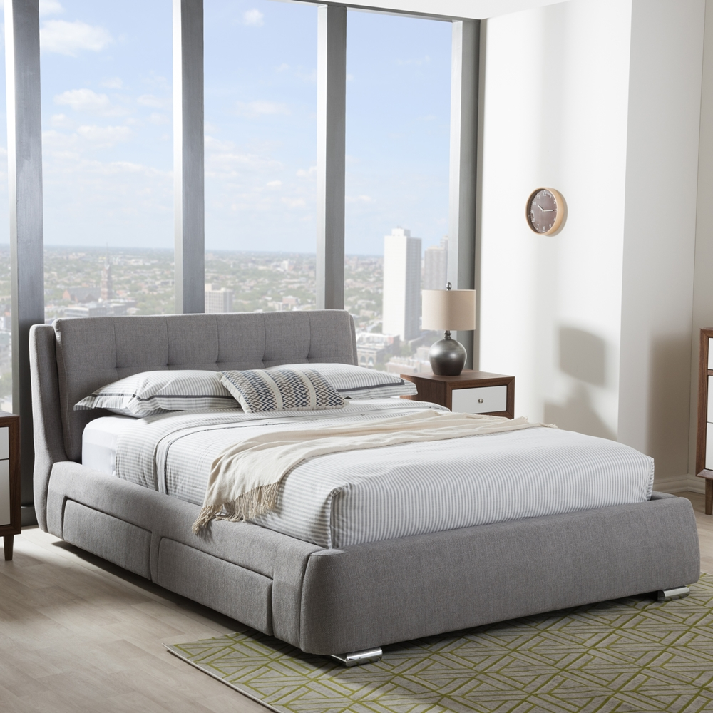 Baxton studio camile modern and contemporary grey fabric - Modern queen bed with storage ...