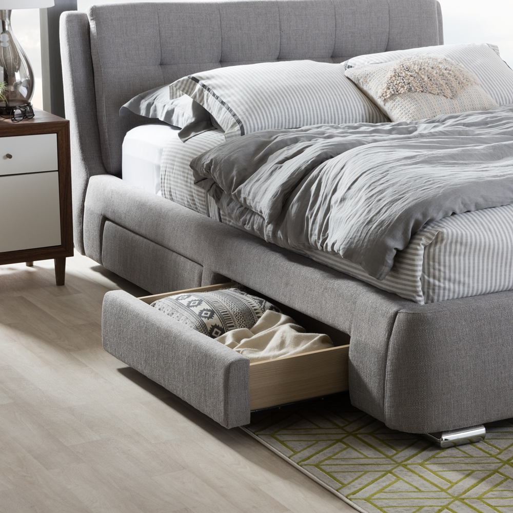Baxton Studio Camile Modern And Contemporary Grey Fabric Upholstered