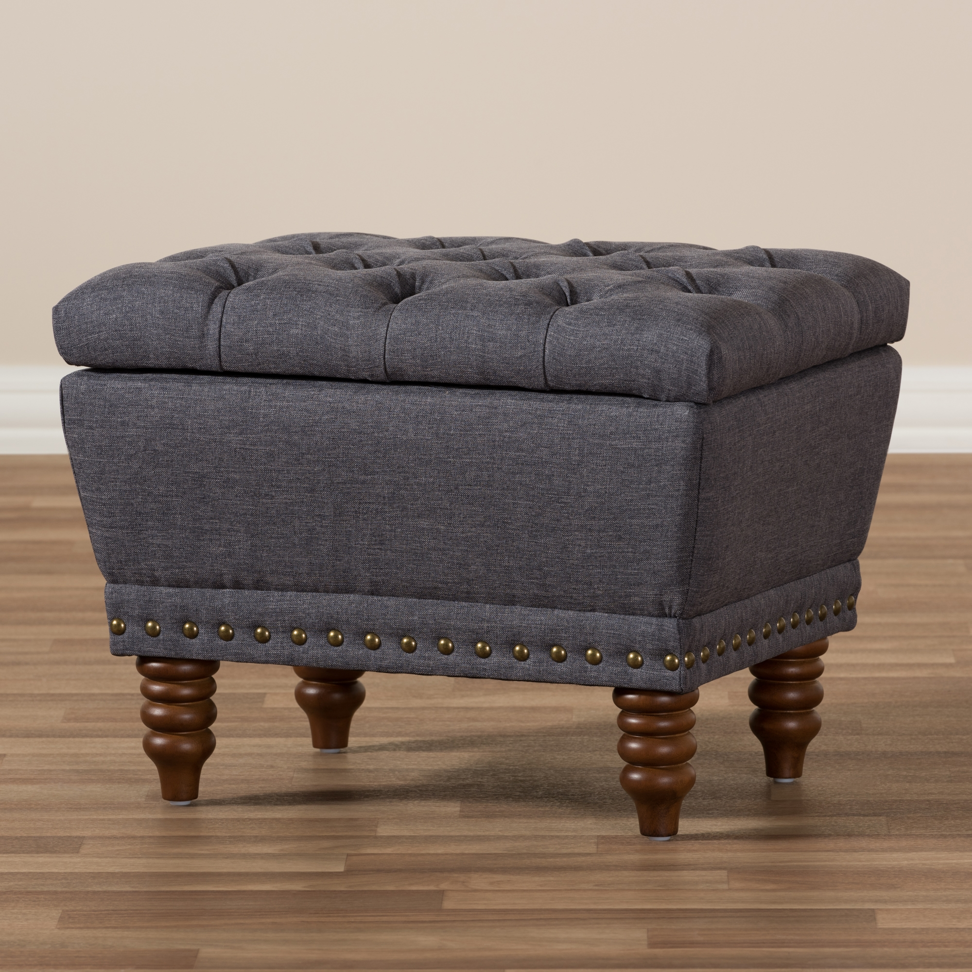 ... Baxton Studio Annabelle Modern And Contemporary Dark Grey Fabric  Upholstered Walnut Wood Finished Button Tufted