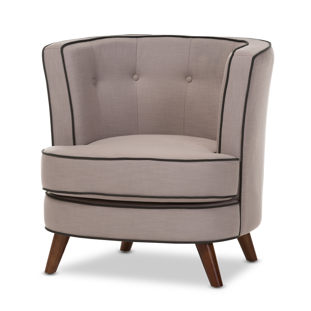 Baxton studio albany mid century modern beige fabric upholstered walnut wood button tufted accent