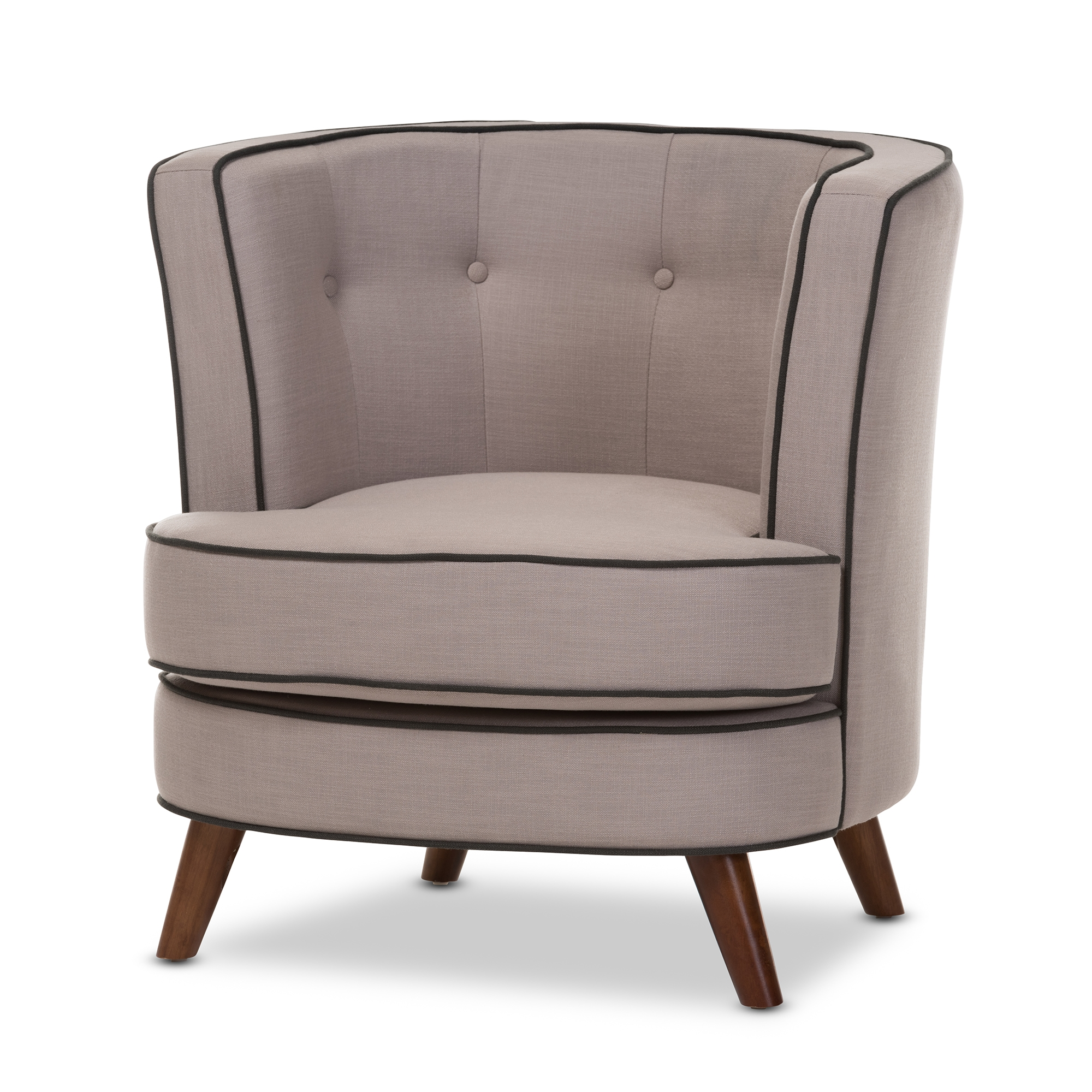 Baxton Studio Albany Mid Century Modern Beige Fabric Upholstered Walnut  Wood Button Tufted Accent Chair