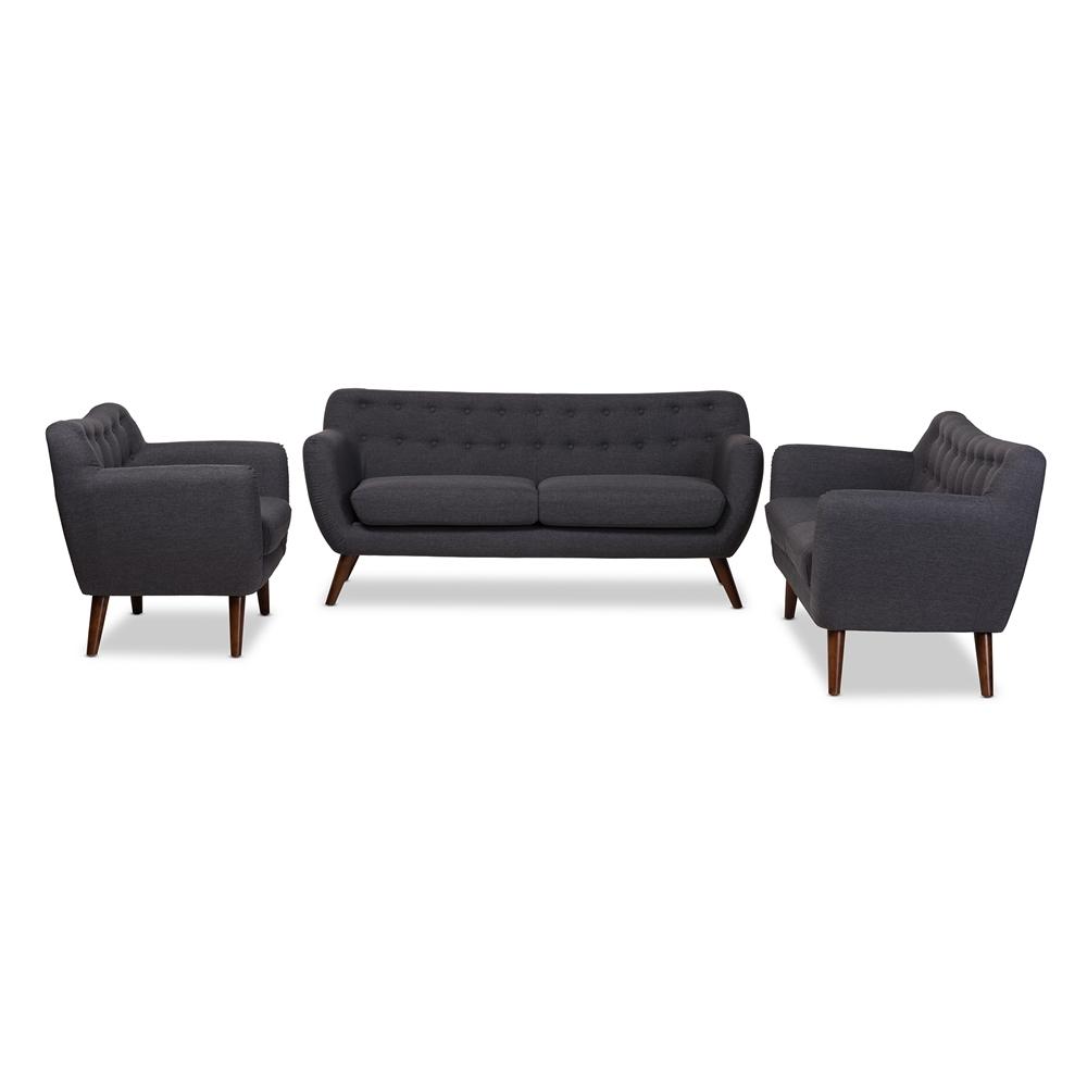 Baxton Studio Harper Mid-Century Modern Dark Grey Fabric Upholstered Walnut  Wood Button-Tufted 3-Piece Sofa Set