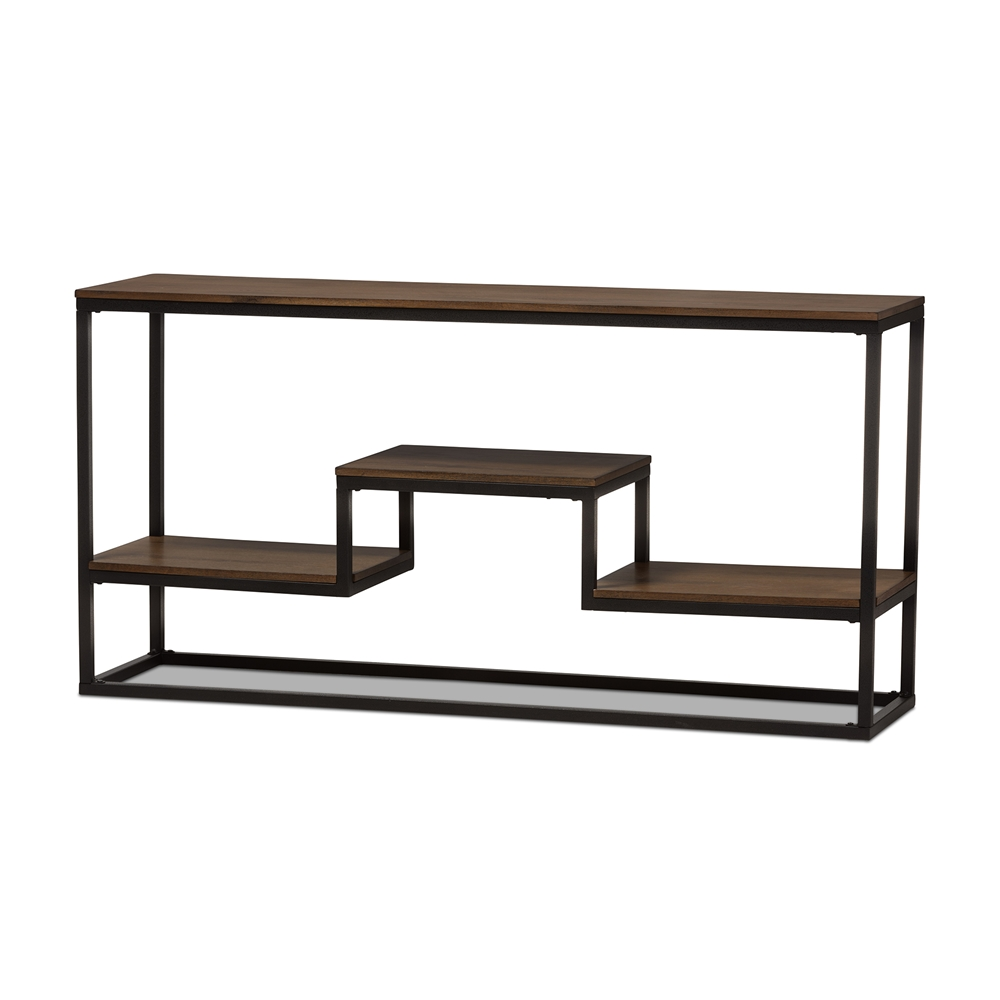 Baxton studio doreen rustic industrial style antique black baxton studio doreen rustic industrial style antique black textured finished metal distressed wood console table geotapseo Images
