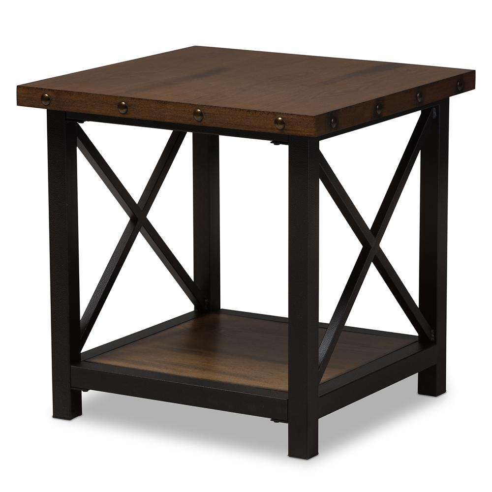 Industrial Wood Coffee Table Distressed Designs: Baxton Studio Herzen Rustic Industrial Style Antique Black