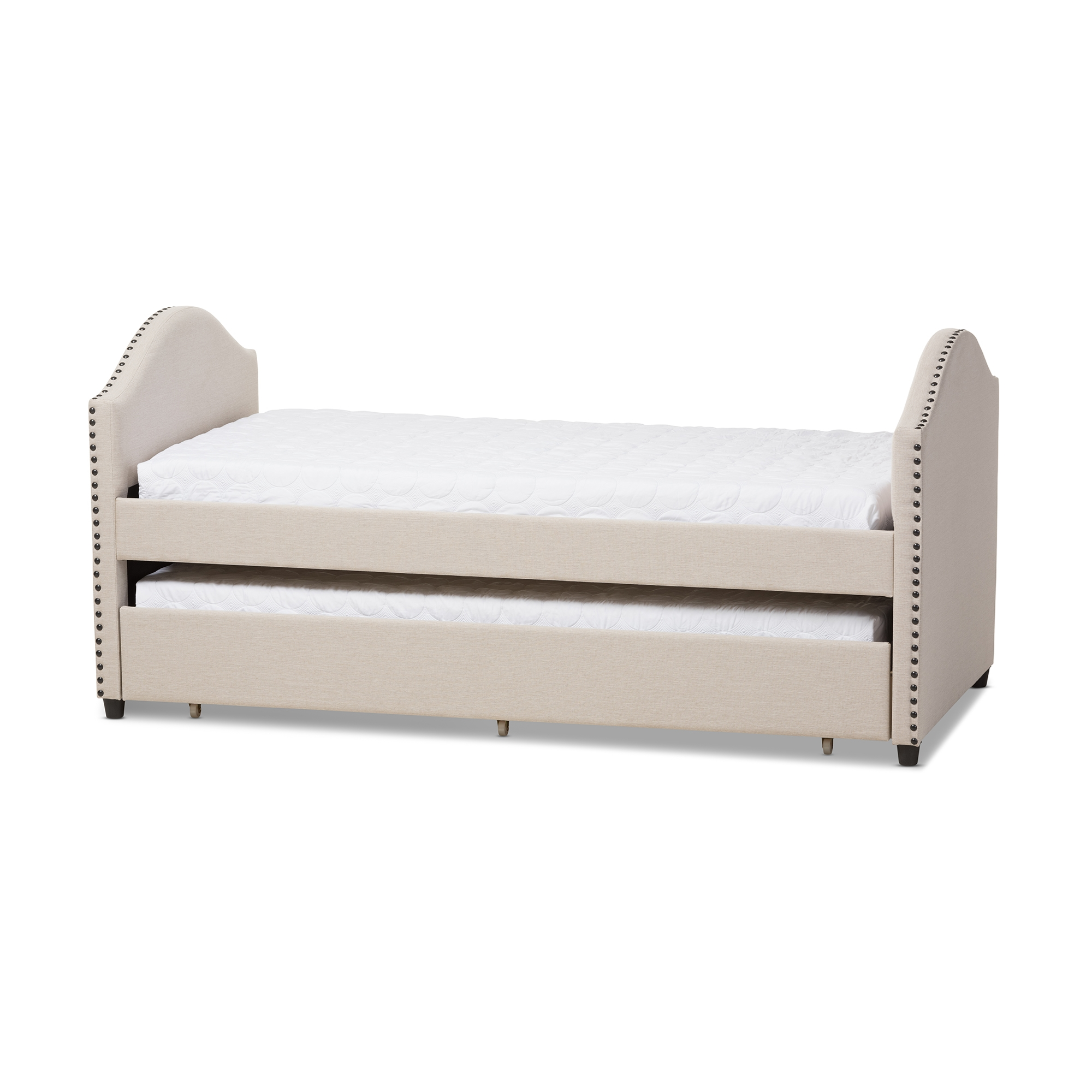 Superbe Baxton Studio Alessia Modern And Contemporary Beige Fabric Upholstered  Daybed With Guest Trundle Bed