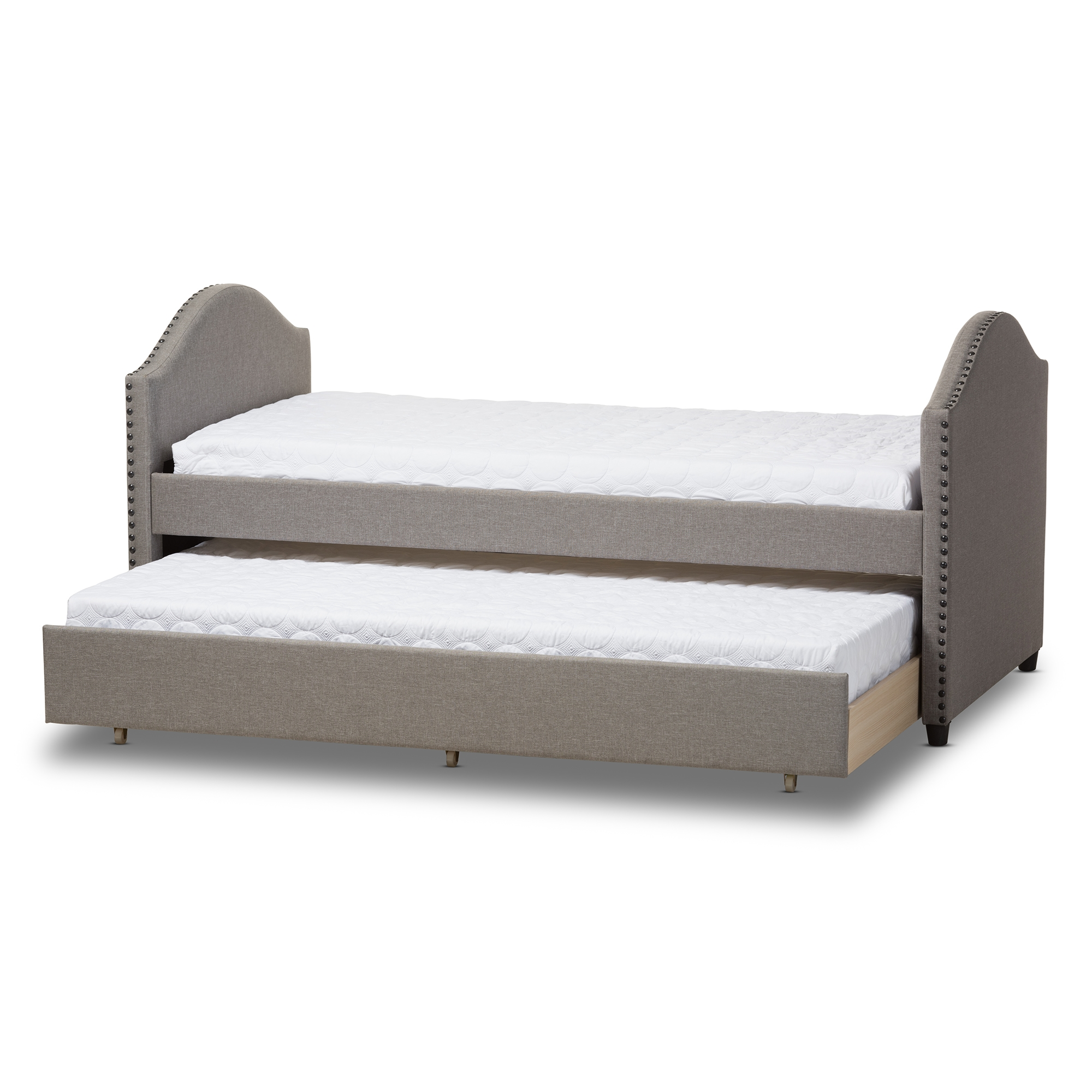 baxton studio alessia modern and grey fabric upholstered daybed with guest trundle bed iecf8751 - Baxton Studio Bed