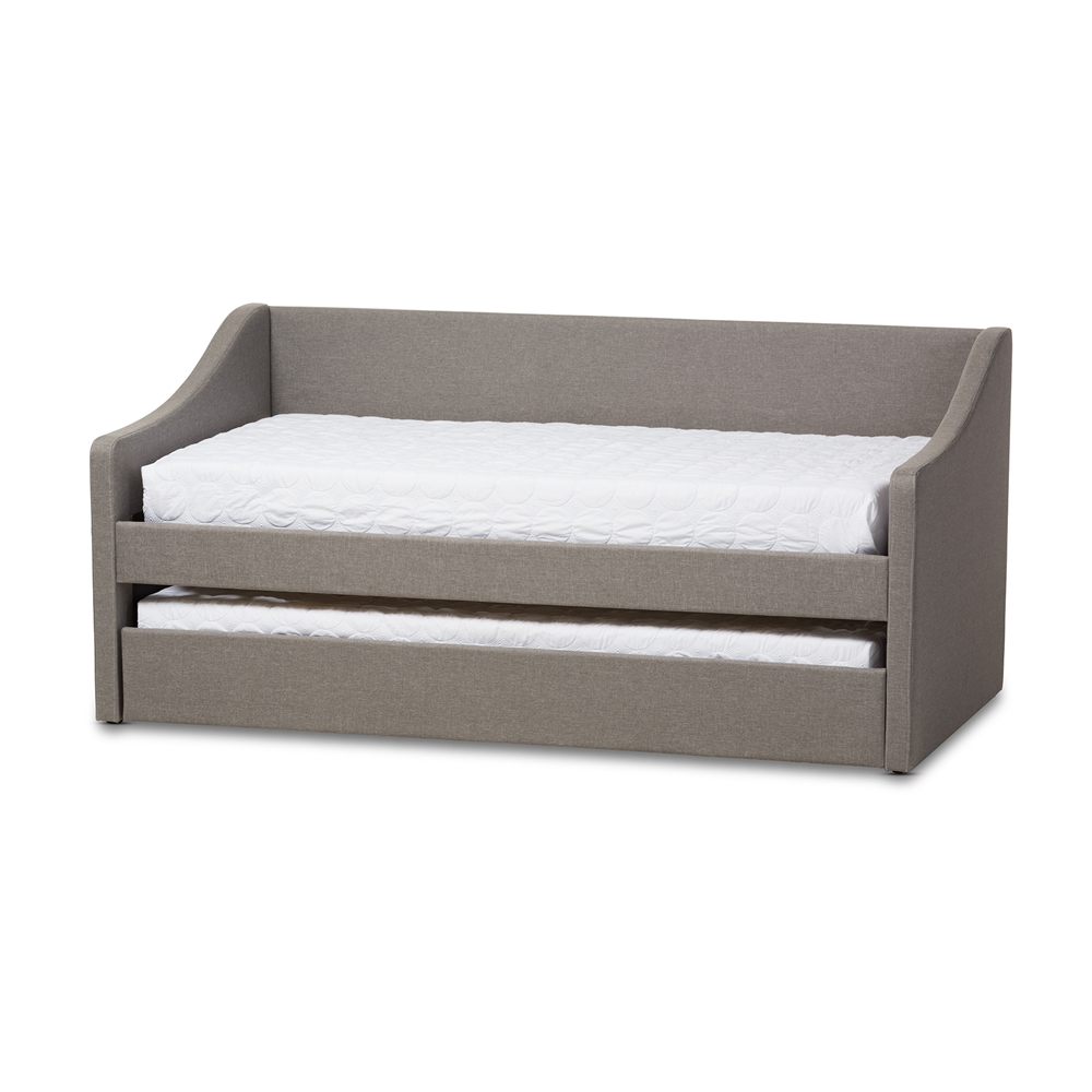 Design Modern Trundle Beds baxton studio barnstorm modern and contemporary grey fabric upholstered daybed with guest trundle bed